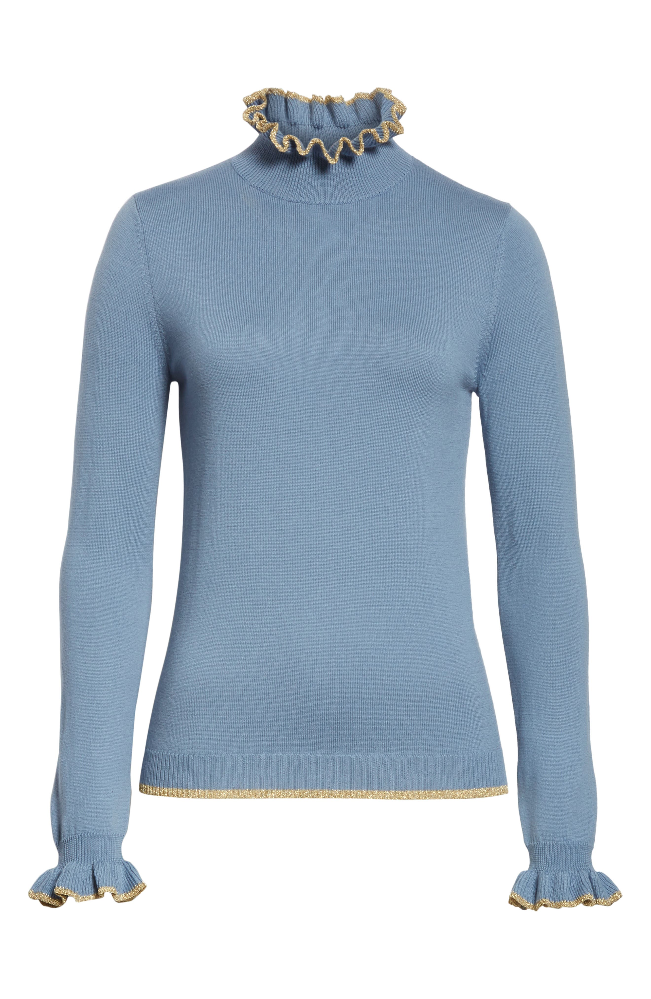 Norah Frill Neck Wool Sweater,                             Alternate thumbnail 6, color,                             400