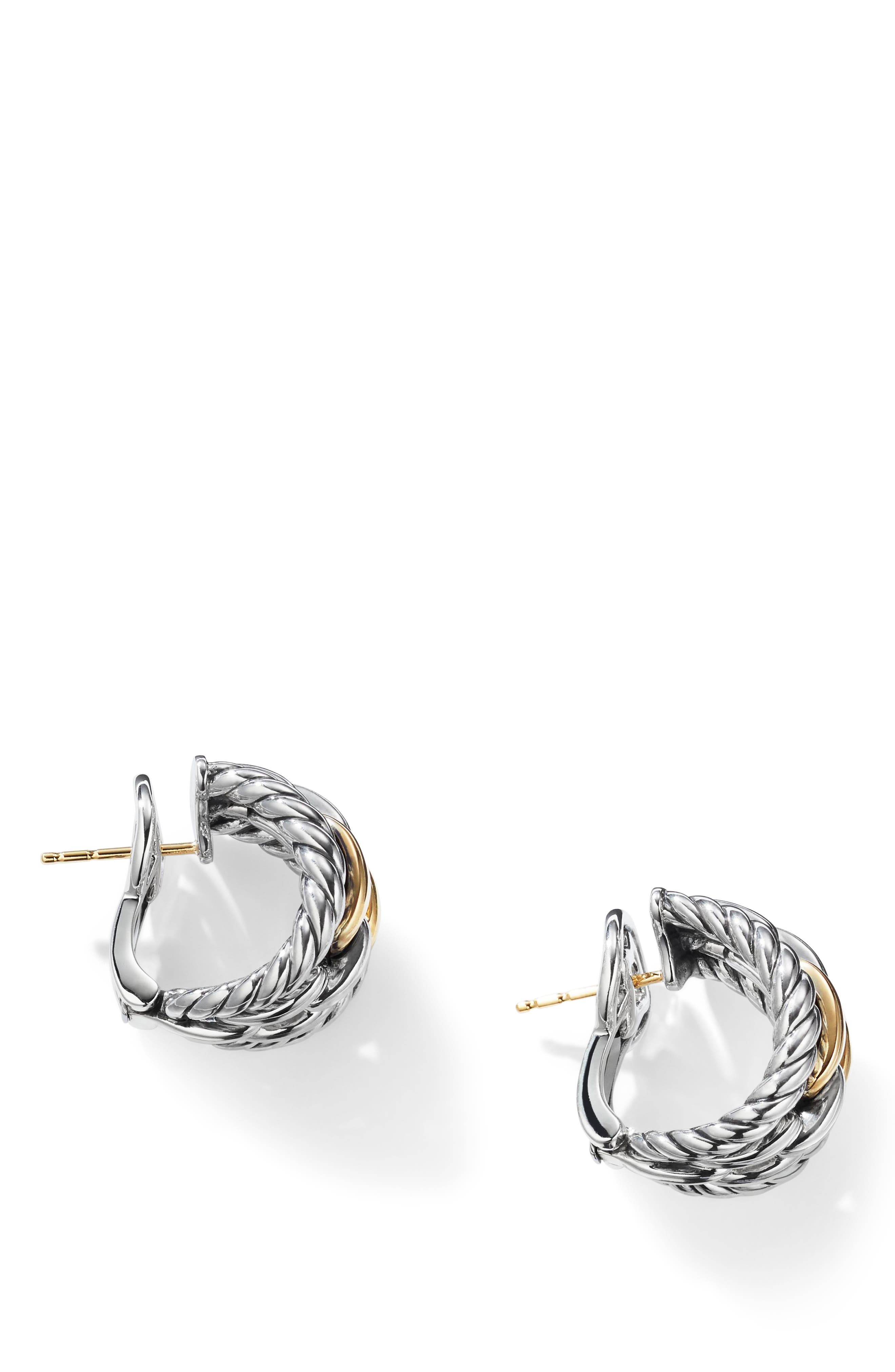 Wellesley Link Hoop Earrings with 18K Gold,                             Alternate thumbnail 2, color,                             18K YELLOW GOLD/ SILVER