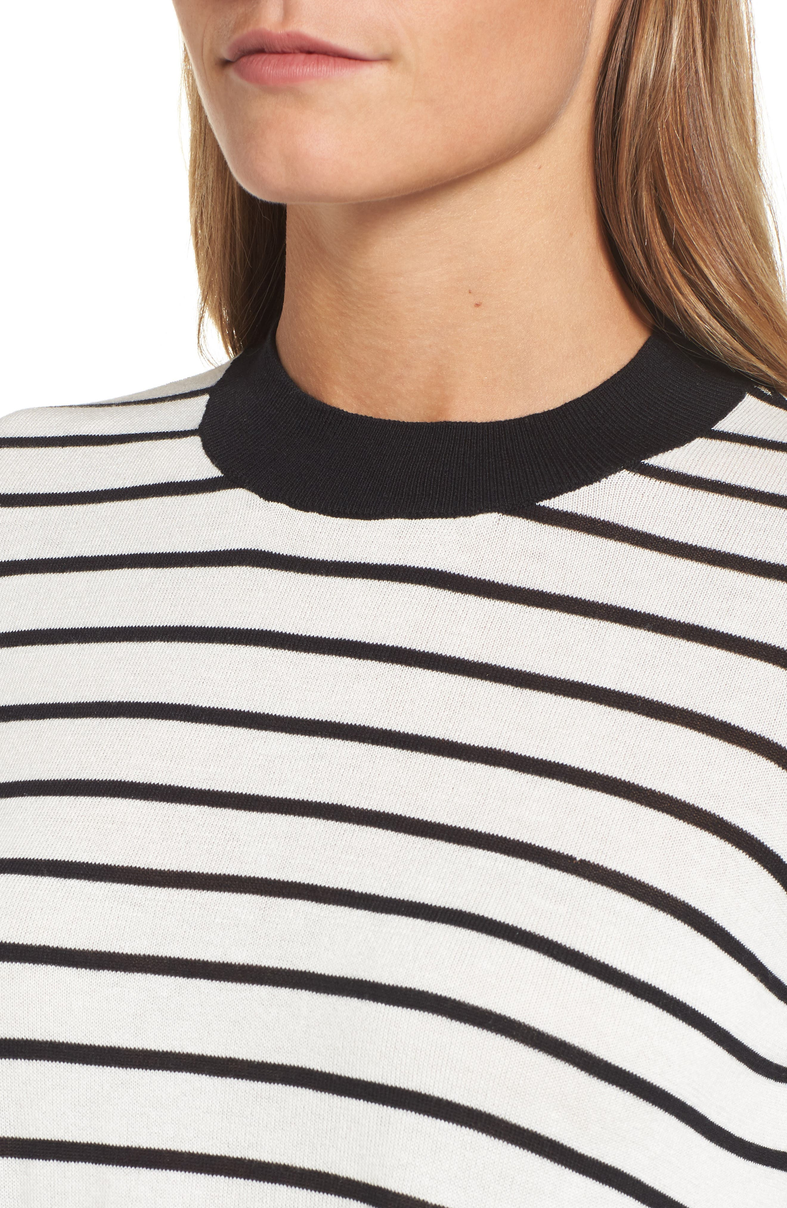 Trapeze Fit Stripe Sweater,                             Alternate thumbnail 4, color,                             907