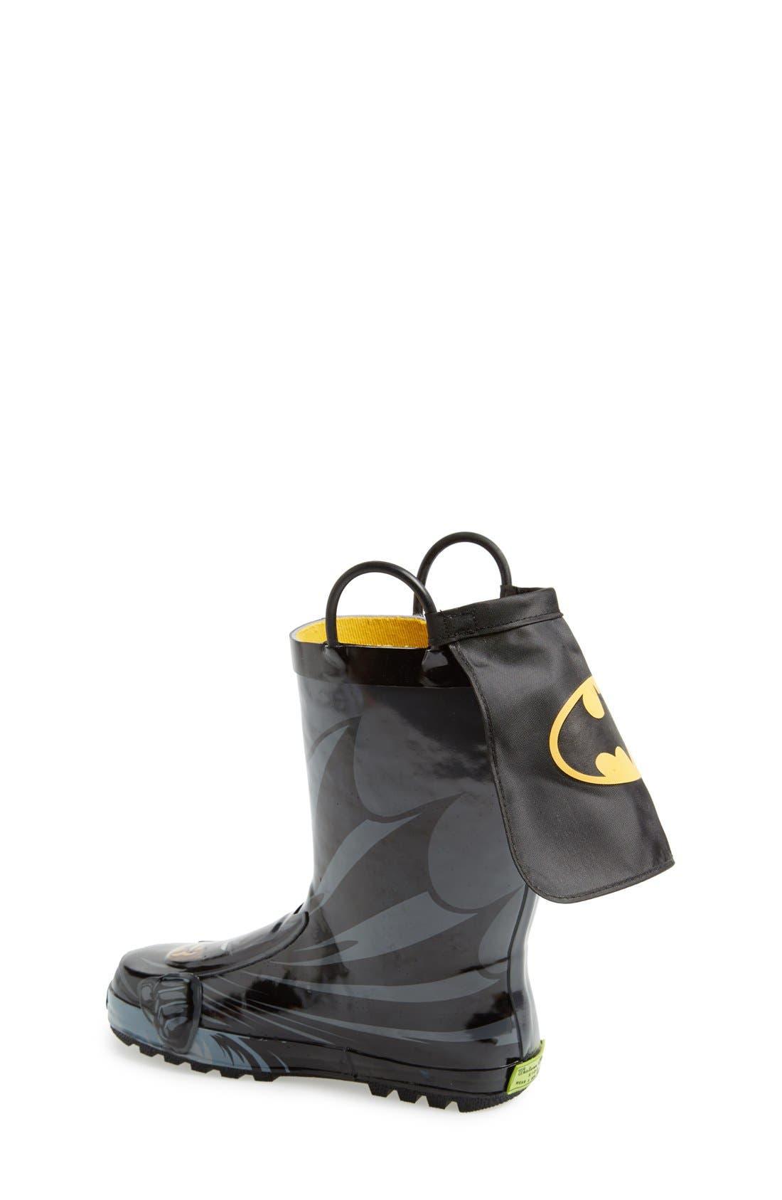 'Batman Everlasting' Waterproof Rain Boot,                             Alternate thumbnail 4, color,                             BLACK/ BLACK