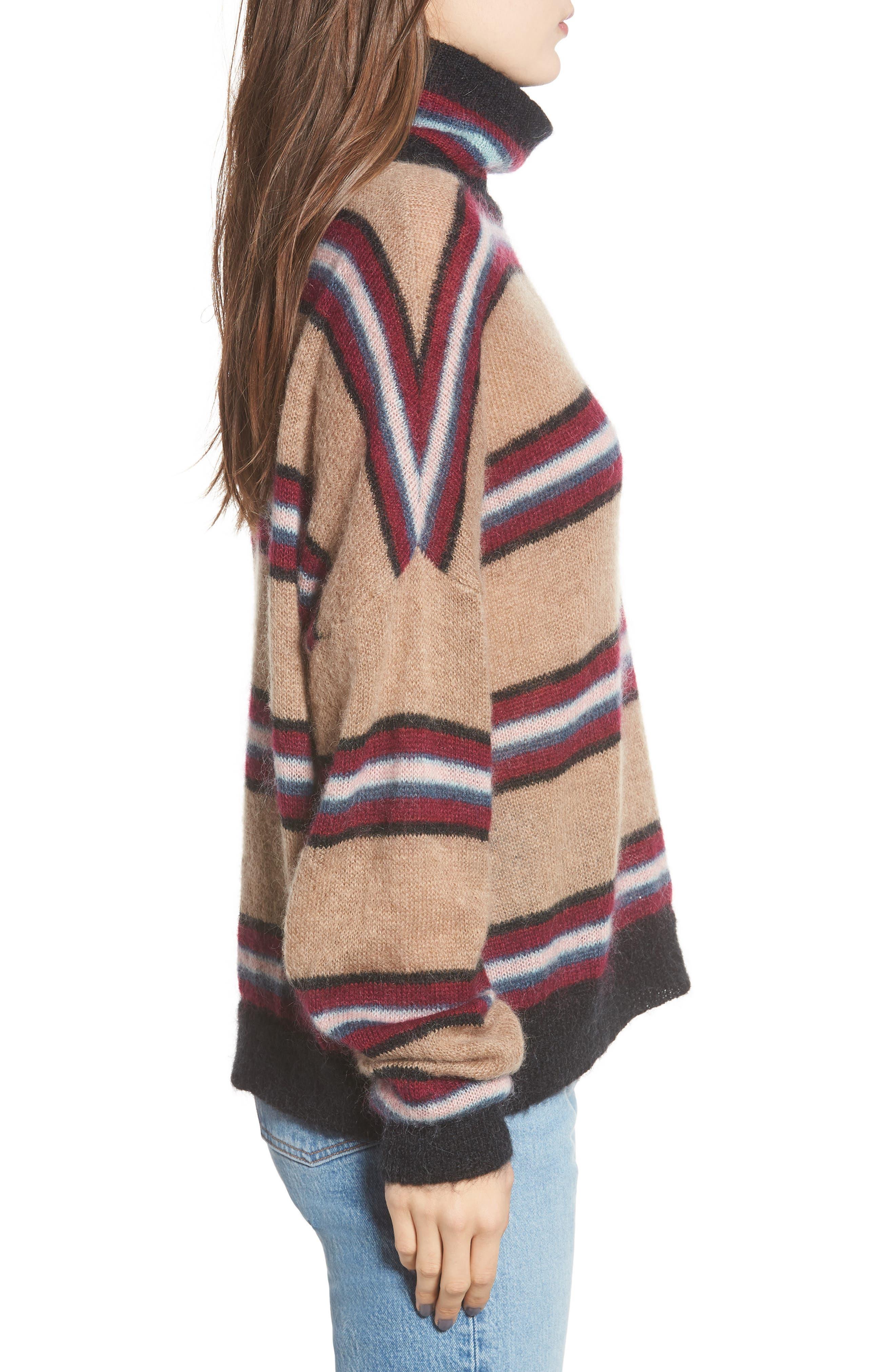 Ella Stripe Turtleneck Sweater,                             Alternate thumbnail 3, color,                             250