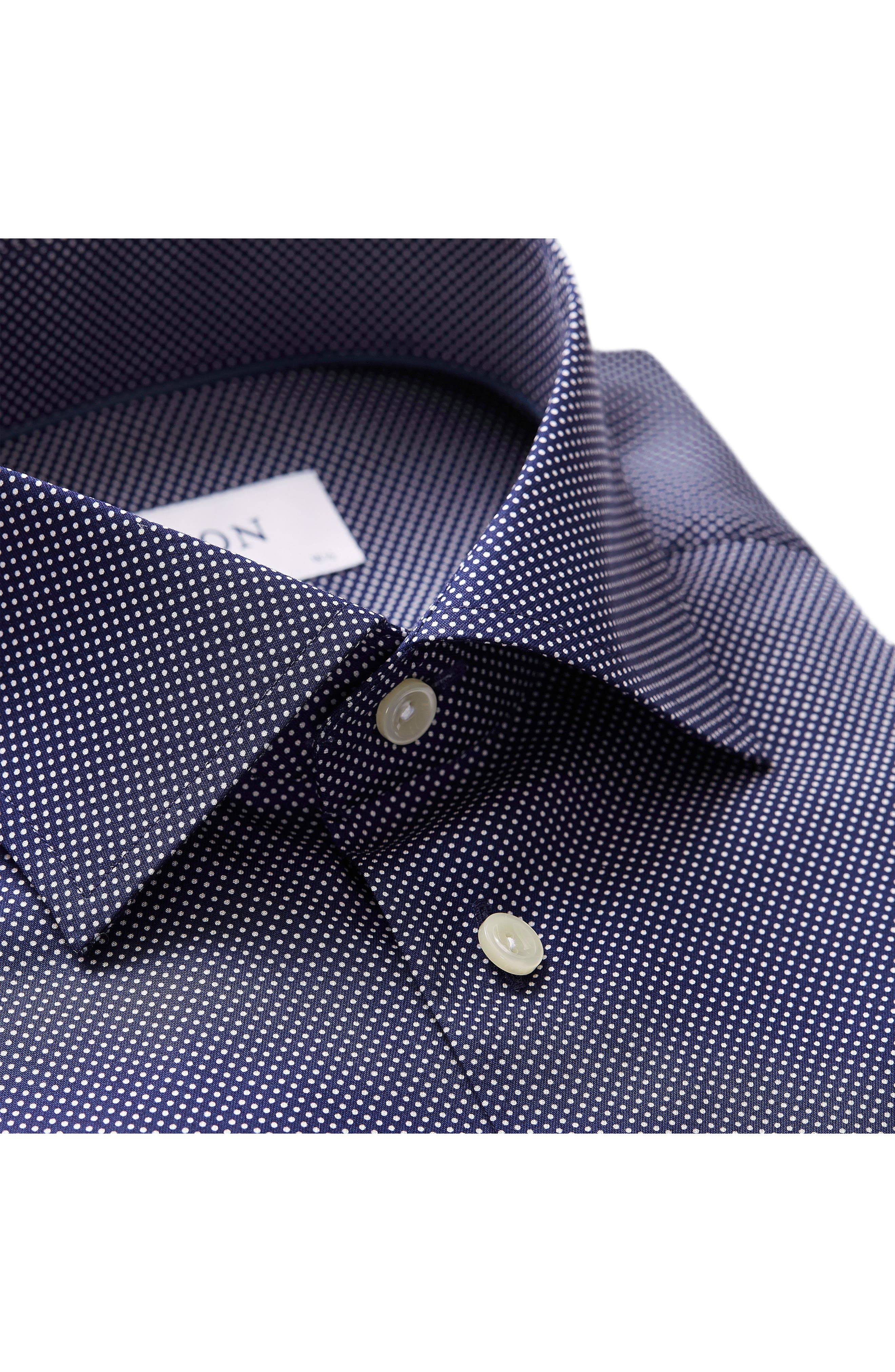 Contemporary Fit Signature Polka Dot Dress Shirt,                             Alternate thumbnail 4, color,                             BLUE
