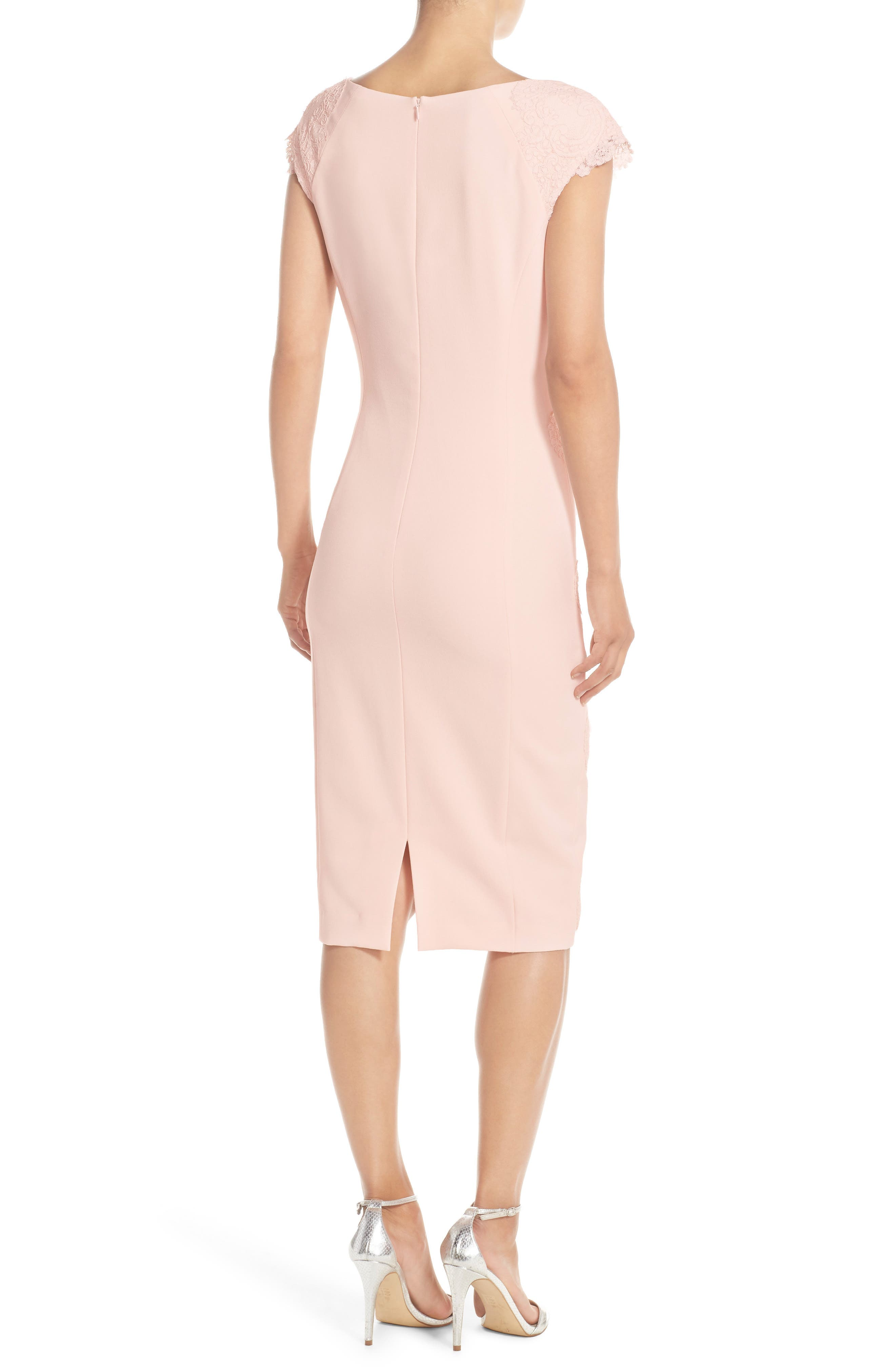 Lace Detail Crepe Sheath Dress,                             Alternate thumbnail 2, color,                             BLUSH