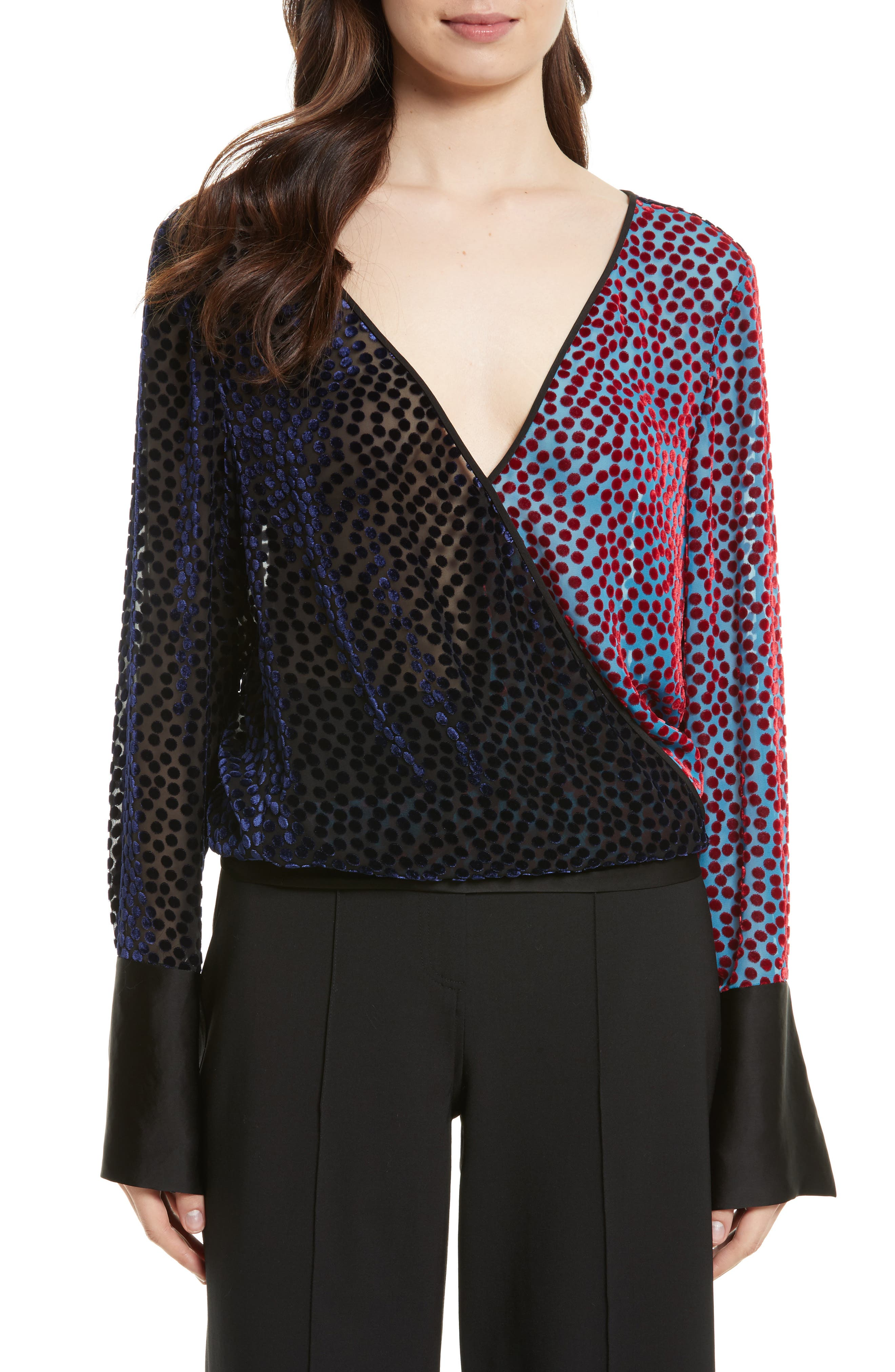 Diane von Furstenberg Deep V-Neck Burnout Velvet Top,                             Main thumbnail 1, color,                             572
