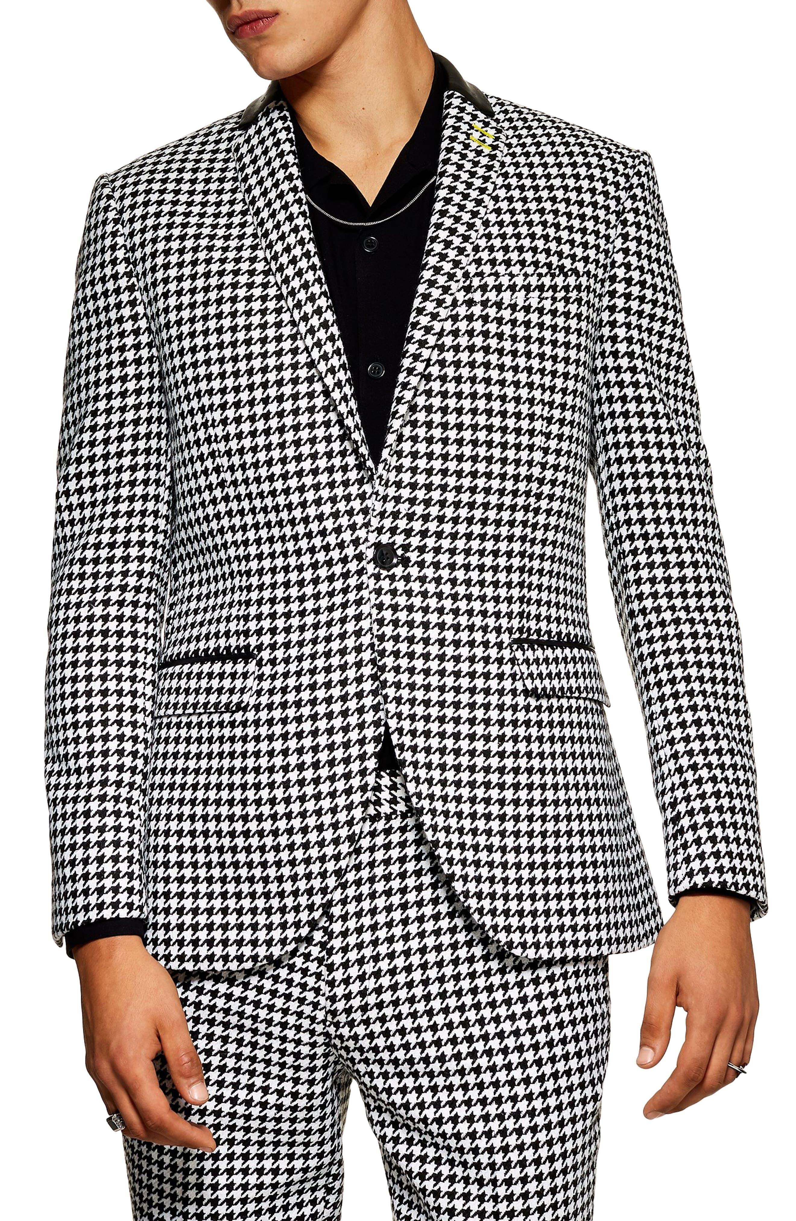 Roe Skinny Fit Suit Jacket, Main, color, BLACK MULTI