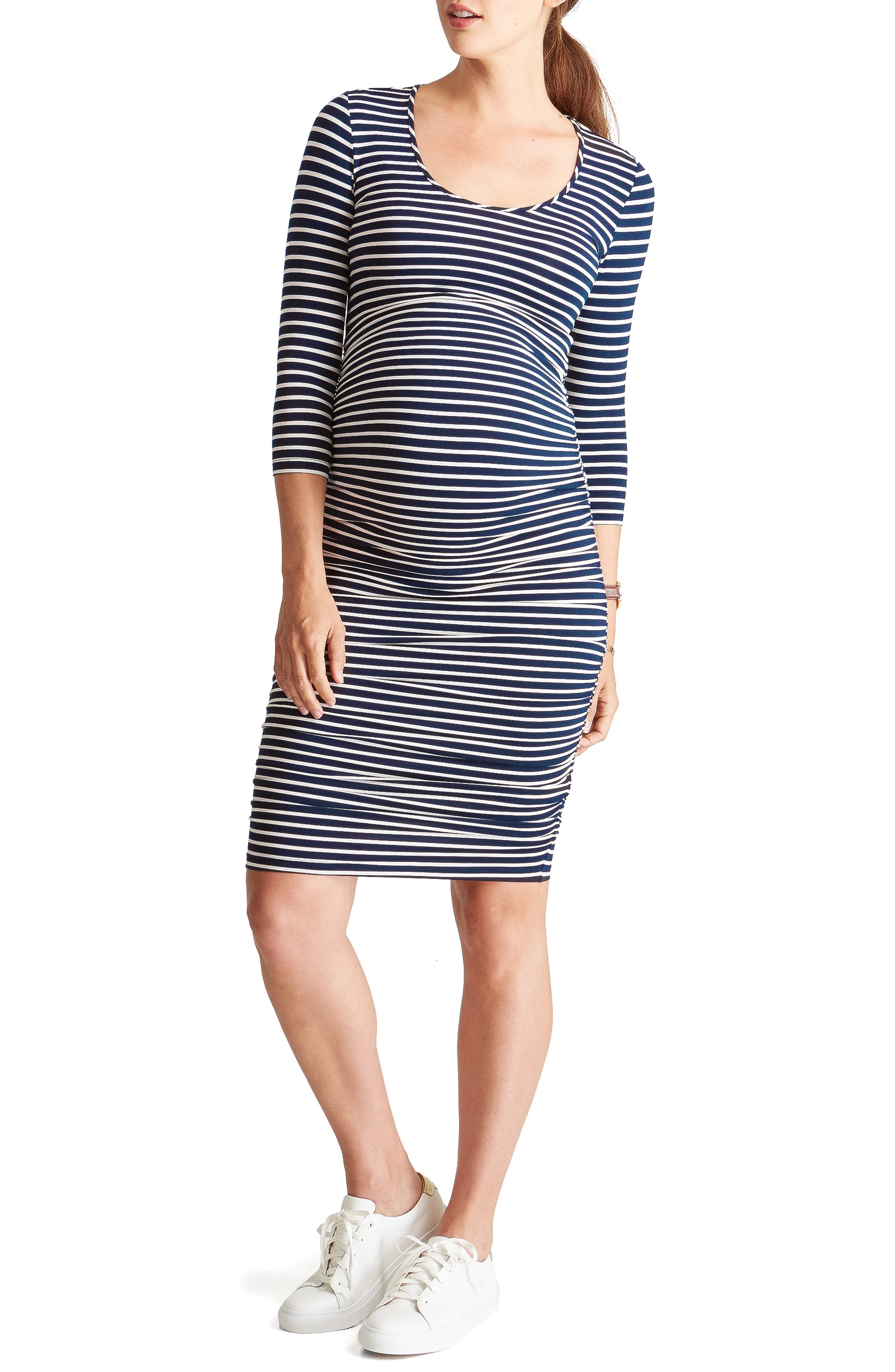 Ingrid & Isabel Shirred Maternity Dress,                             Main thumbnail 1, color,                             TRUE NAVY/CREAM STRIPE