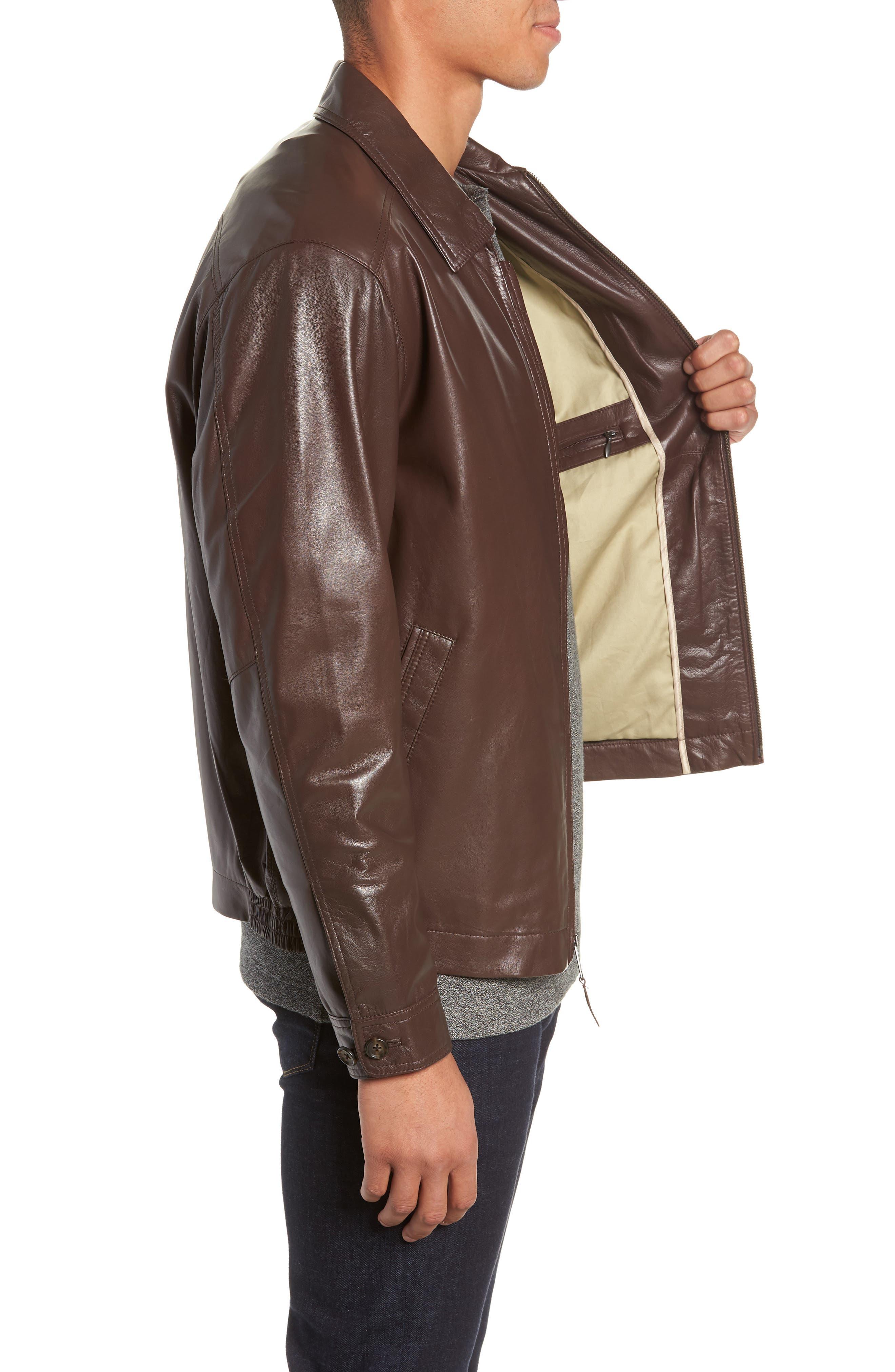 GOLDEN BEAR,                             The Bartlett Leather Jacket,                             Alternate thumbnail 3, color,                             DARK BROWN