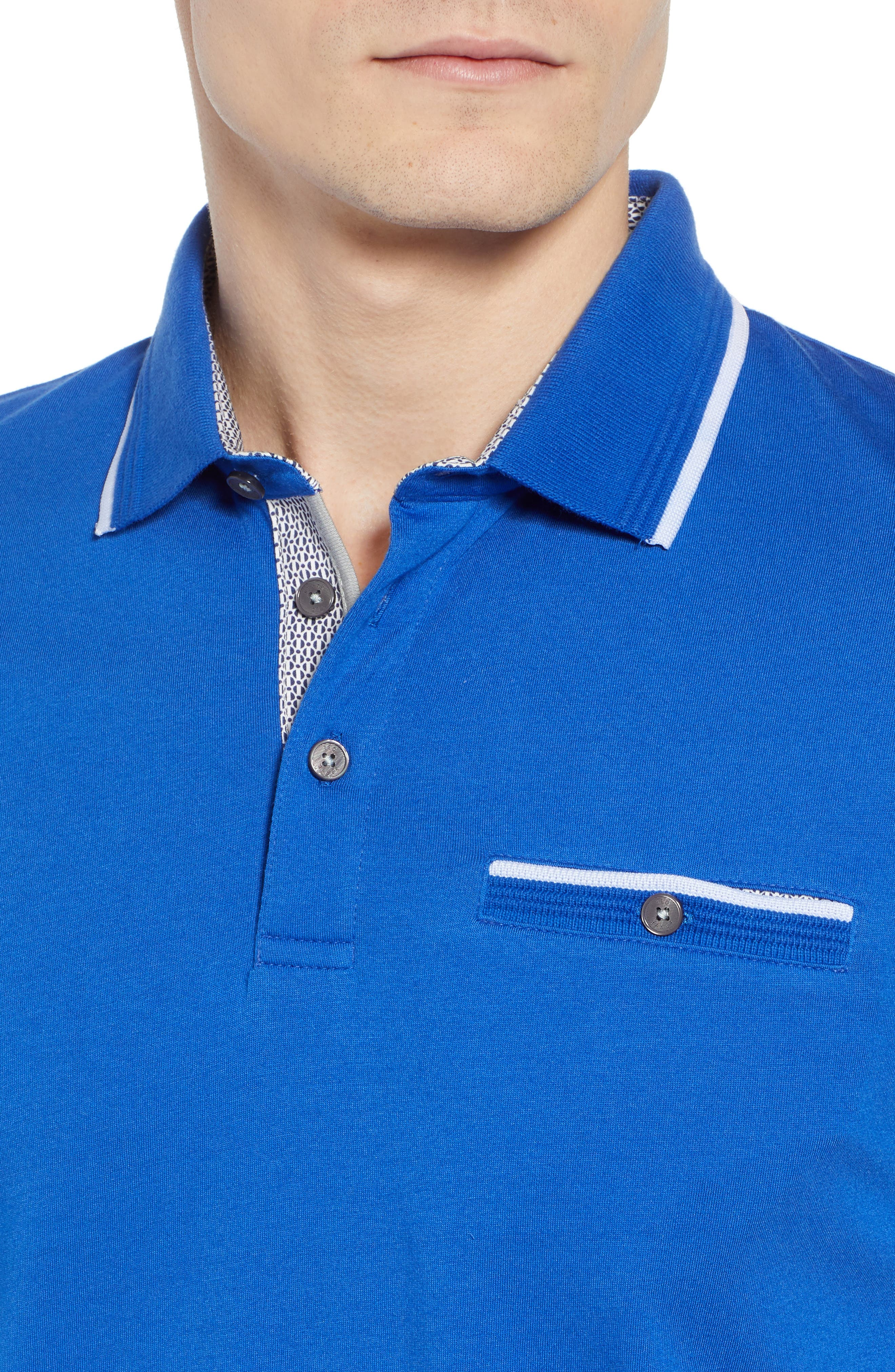 Derry Modern Slim Fit Polo,                             Alternate thumbnail 4, color,                             BRIGHT BLUE