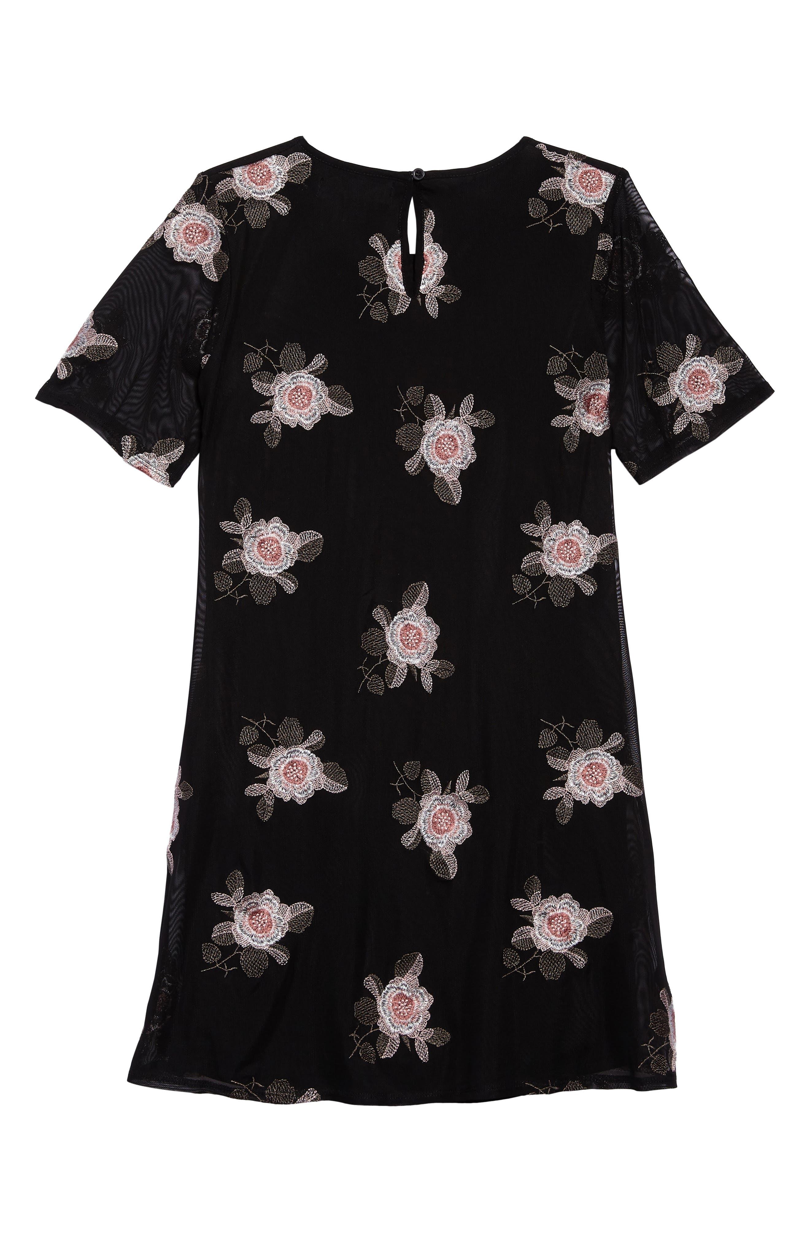 Flower Embroidered Mesh Dress,                             Alternate thumbnail 2, color,                             001