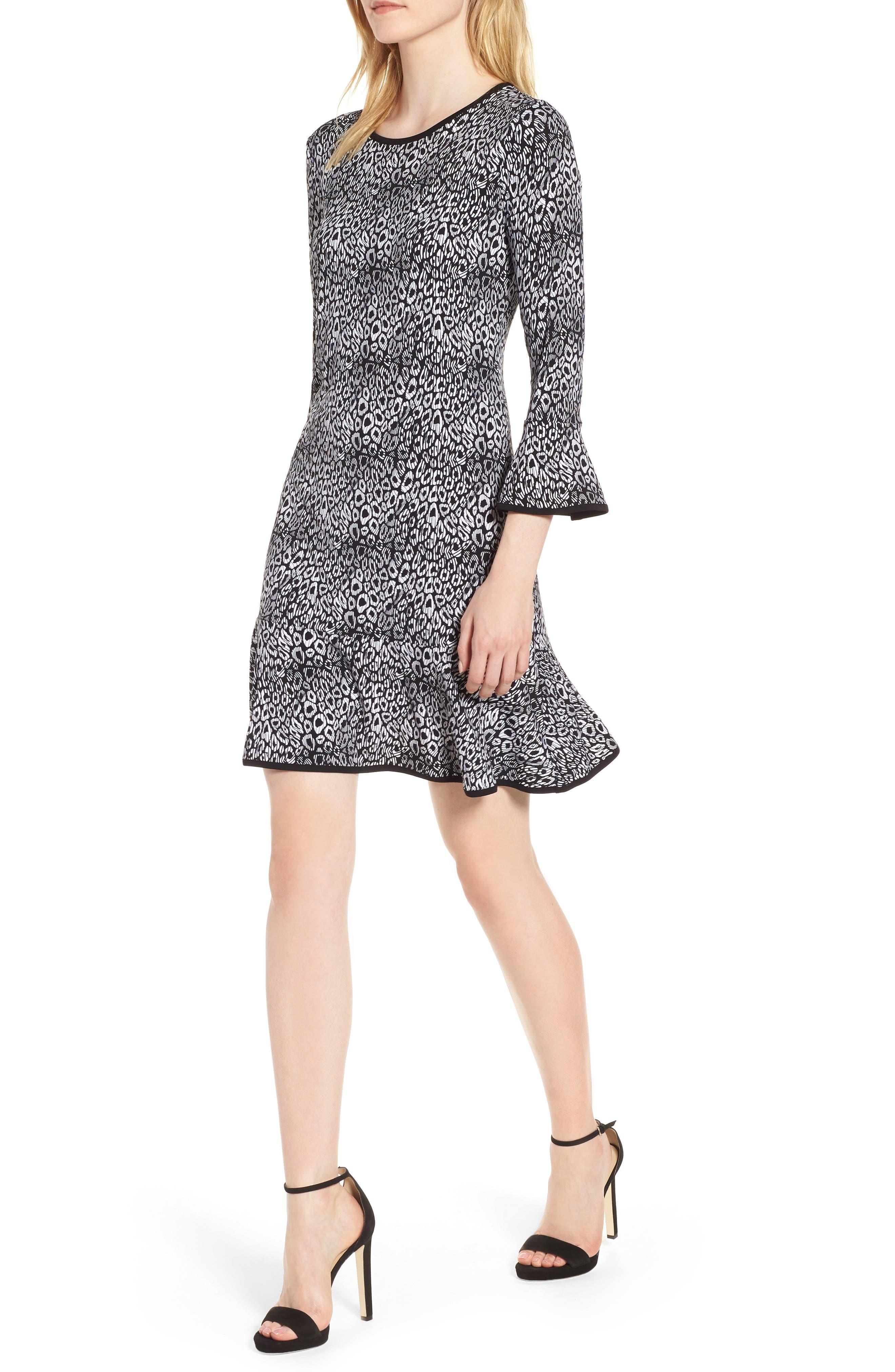 Wavy Leopard Flounce Dress,                             Main thumbnail 1, color,                             001