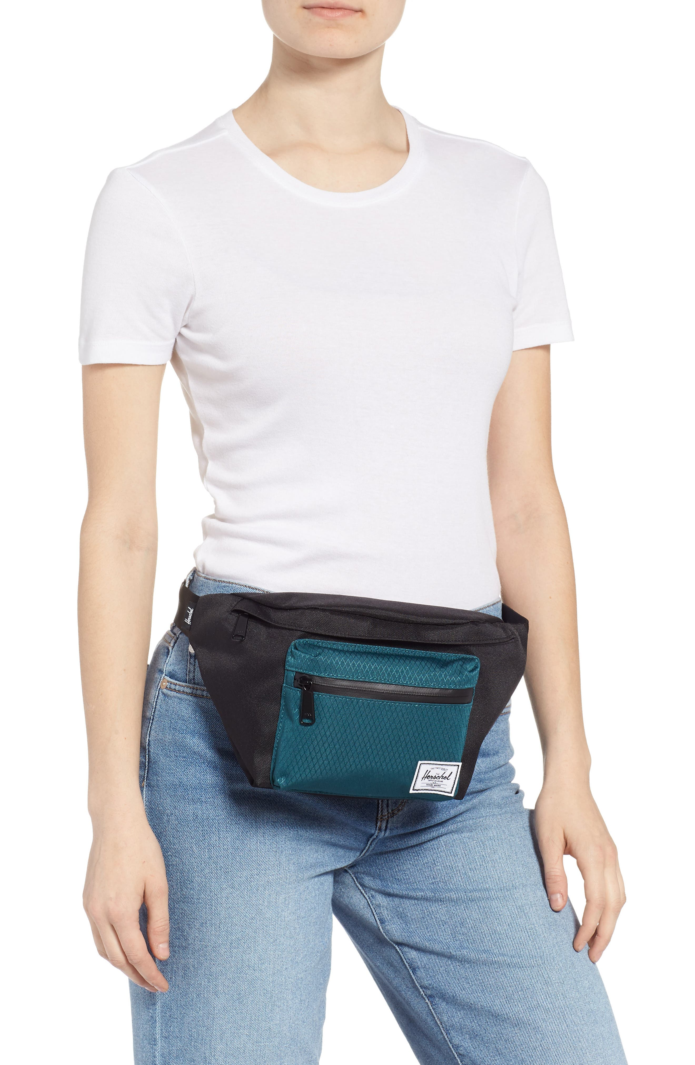 'Seventeen' Belt Bag,                             Alternate thumbnail 2, color,                             BLACK/ DEEP TEAL