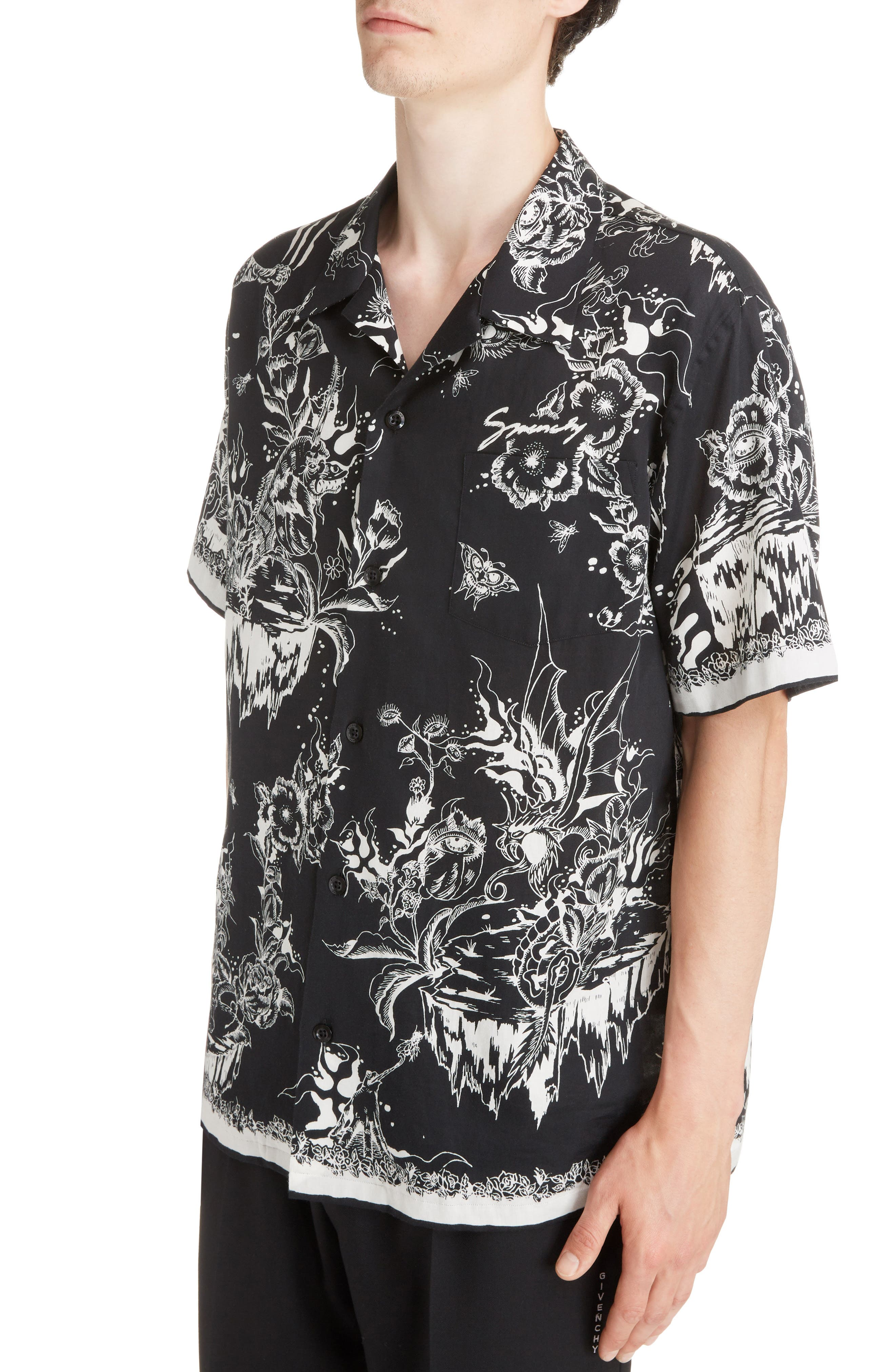 Dragon Sky Camp Shirt,                             Alternate thumbnail 2, color,                             BLACK
