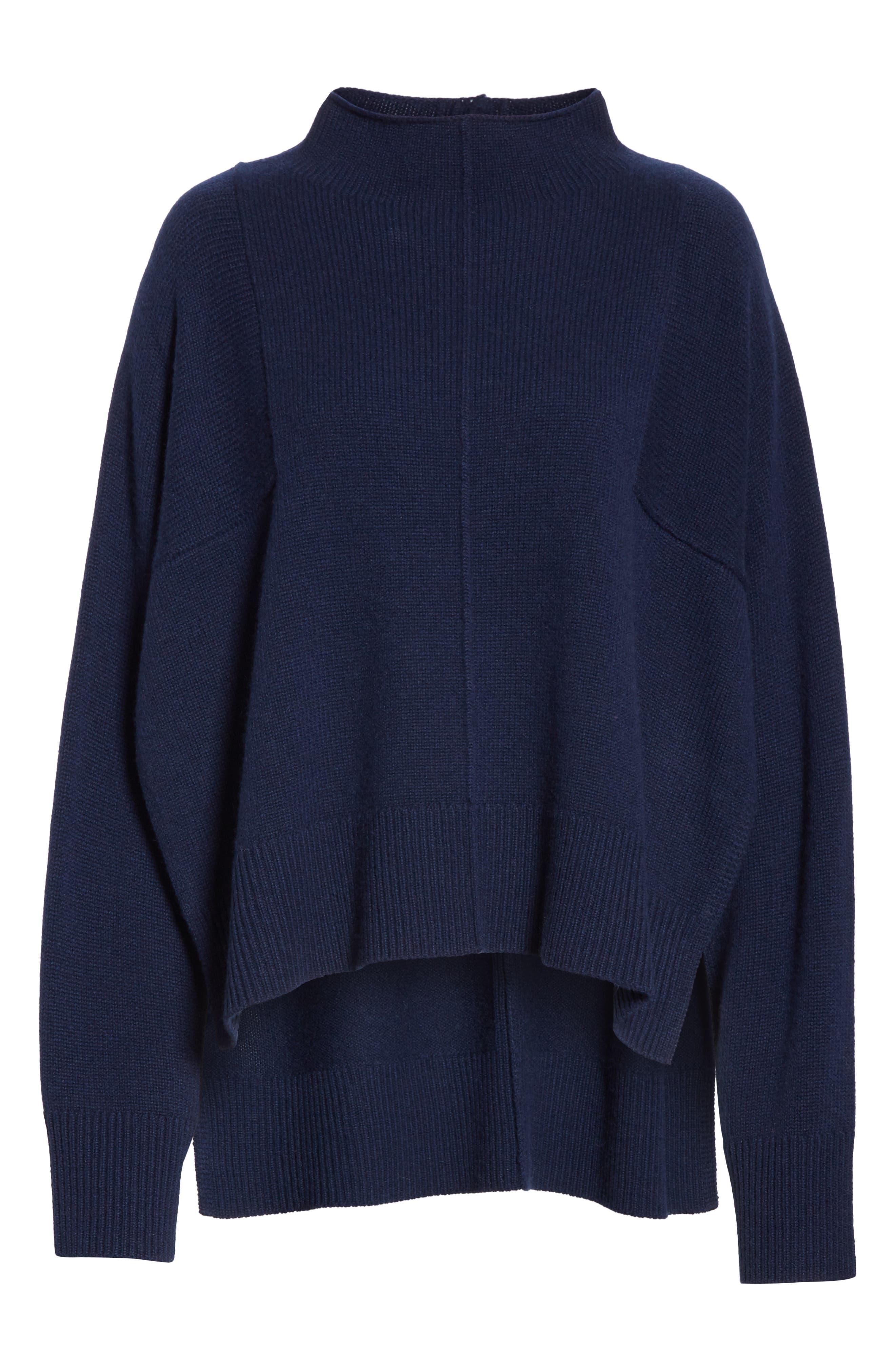 Side Slit Cashmere Sweater,                             Alternate thumbnail 6, color,                             NAVY MEDIEVAL
