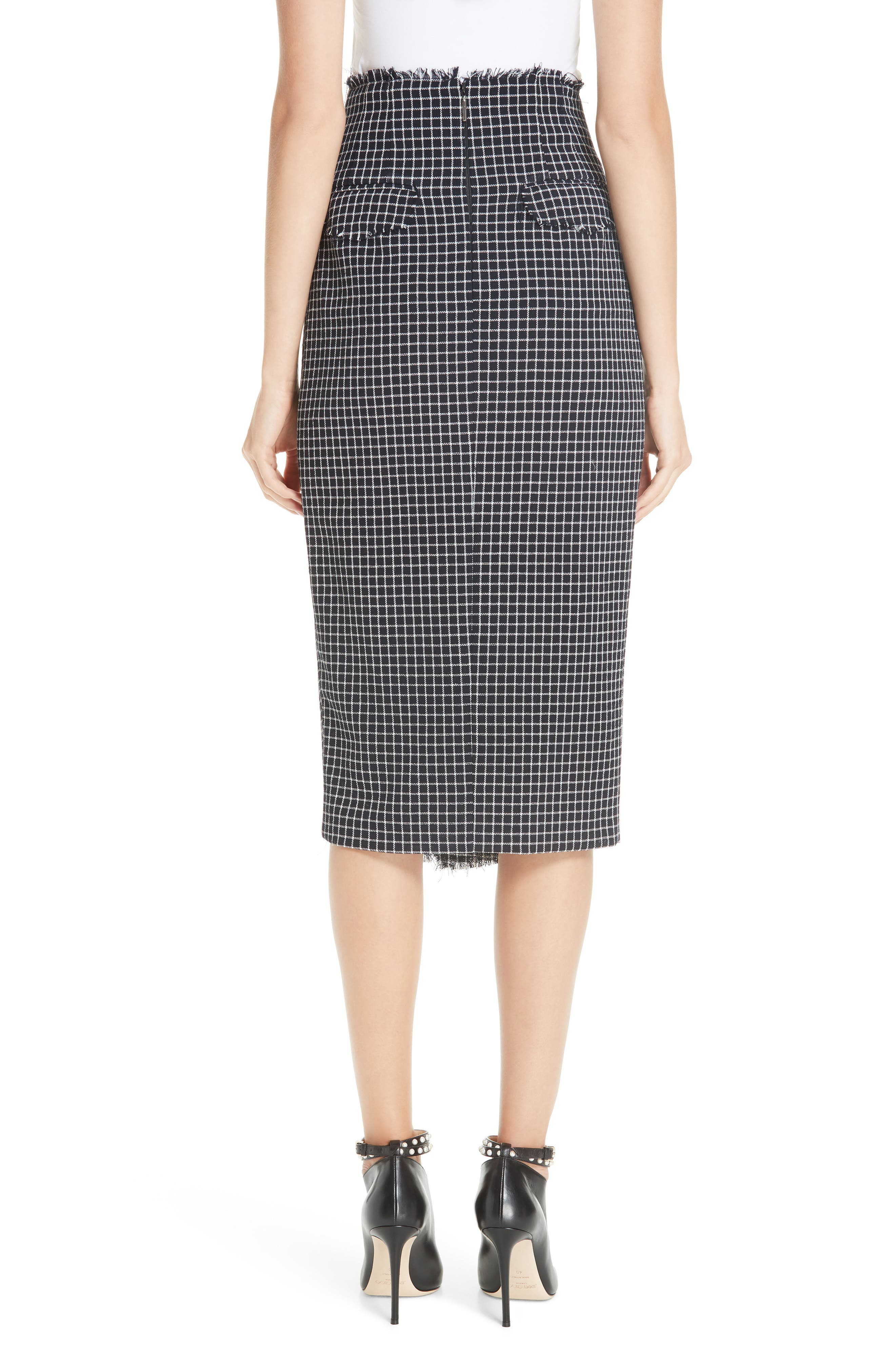 JASON WU COLLECTION,                             Wool Check Skirt,                             Alternate thumbnail 2, color,                             001
