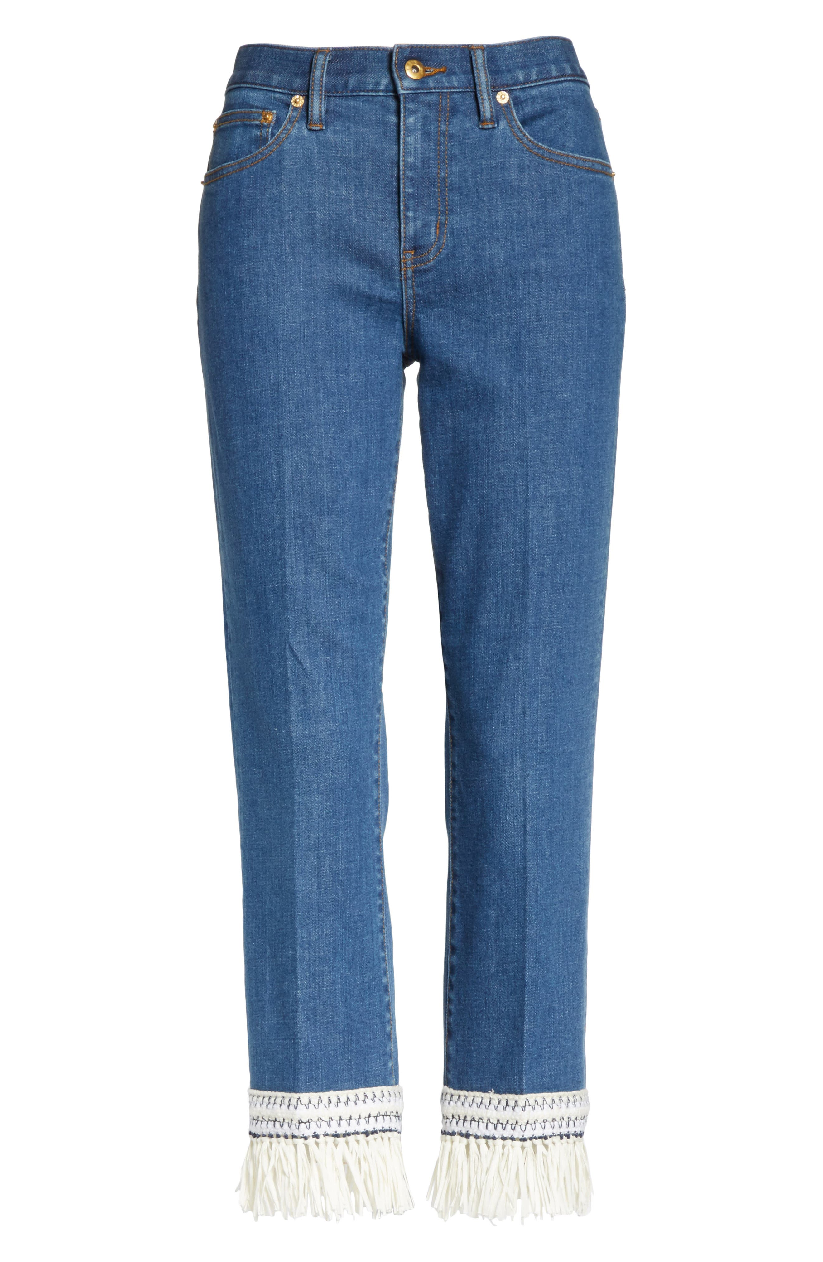 Connor Fringe Trim Crop Jeans,                             Alternate thumbnail 6, color,