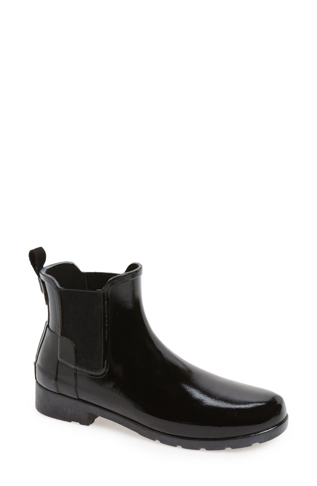 HUNTER,                             Original Refined Chelsea Waterproof Rain Boot,                             Main thumbnail 1, color,                             BLACK