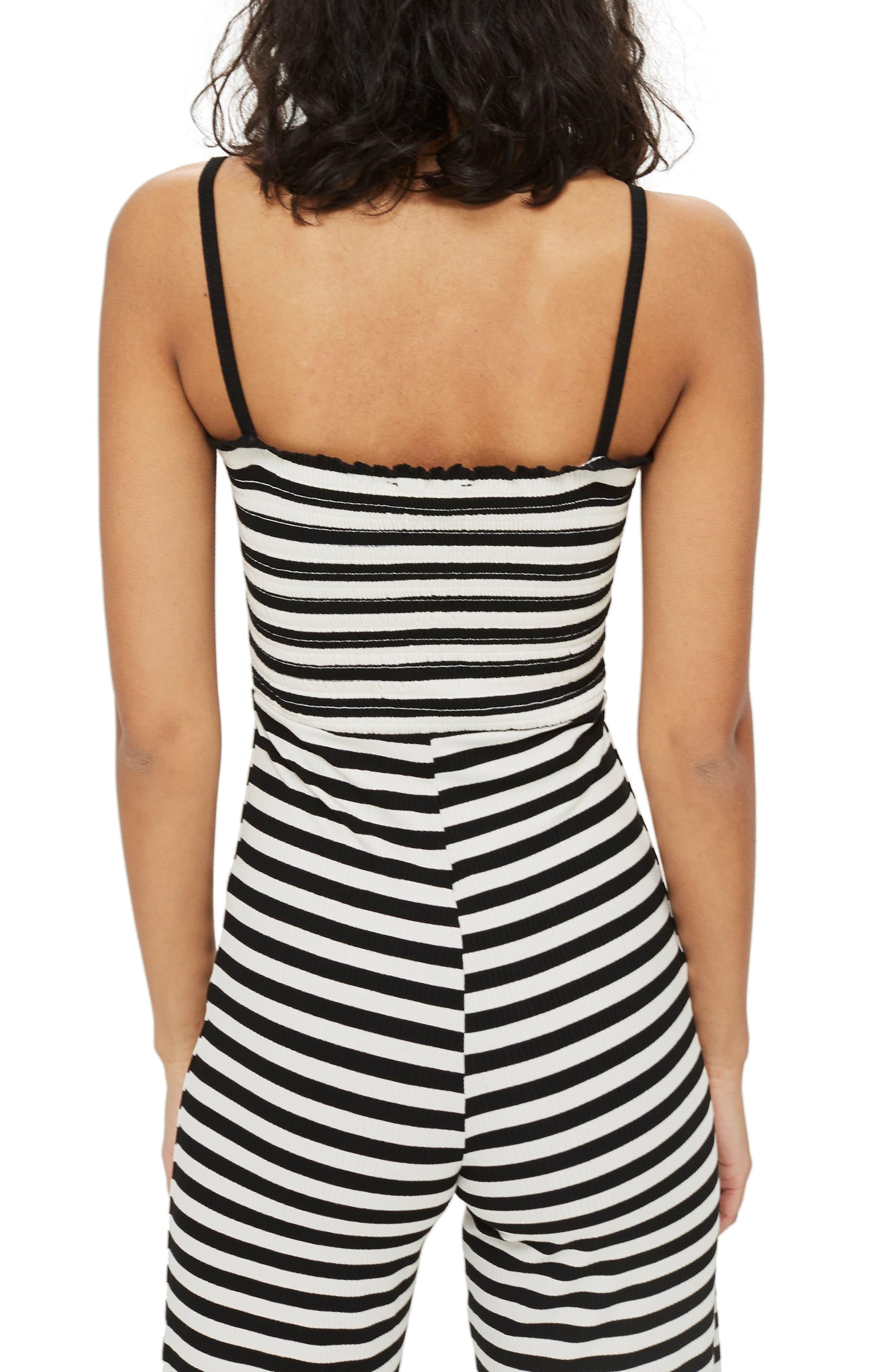 Shirred Top Stripe Jumpsuit,                             Alternate thumbnail 2, color,                             BLACK MULTI