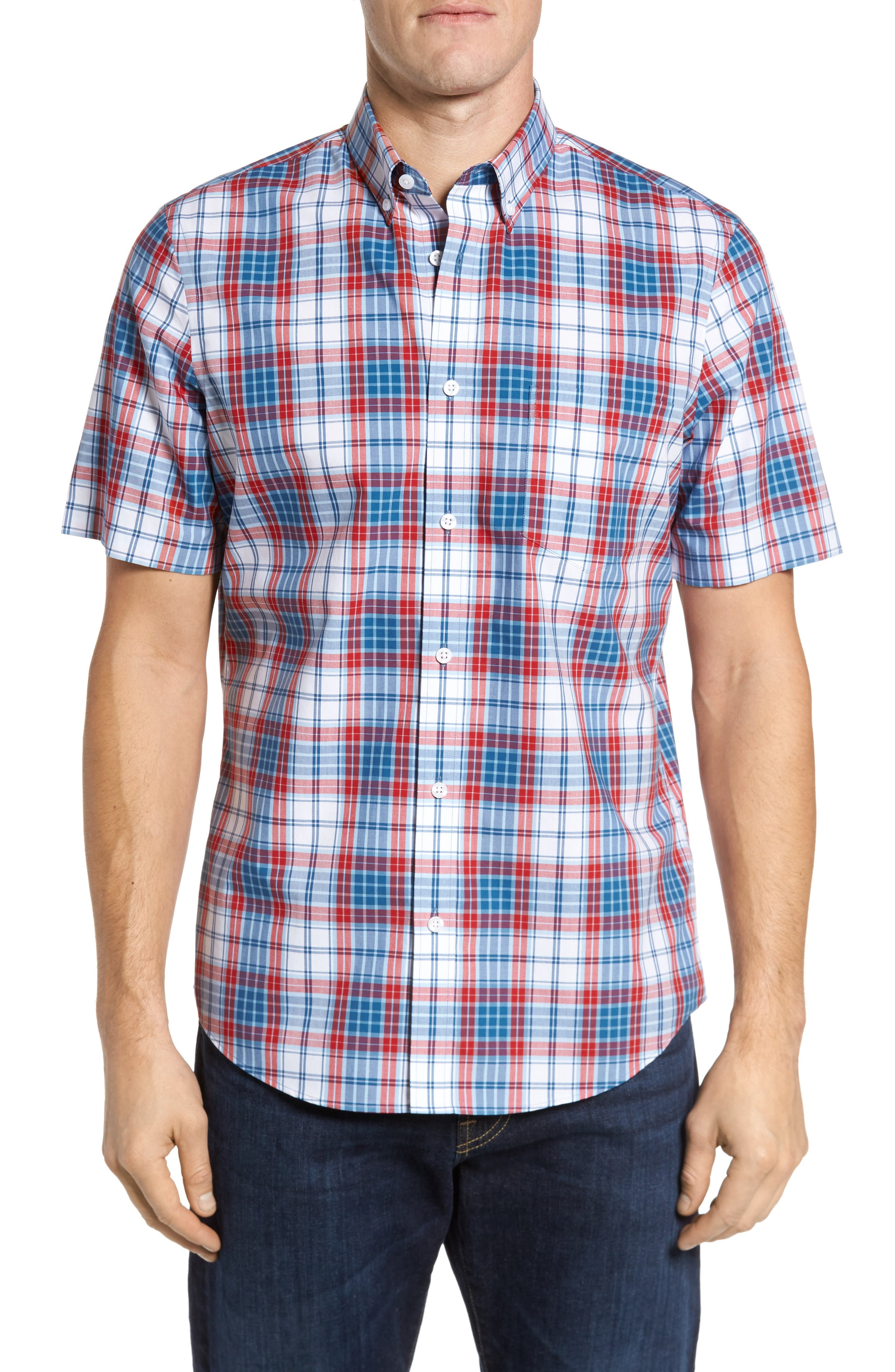 Plaid Sport Shirt,                         Main,                         color, 100