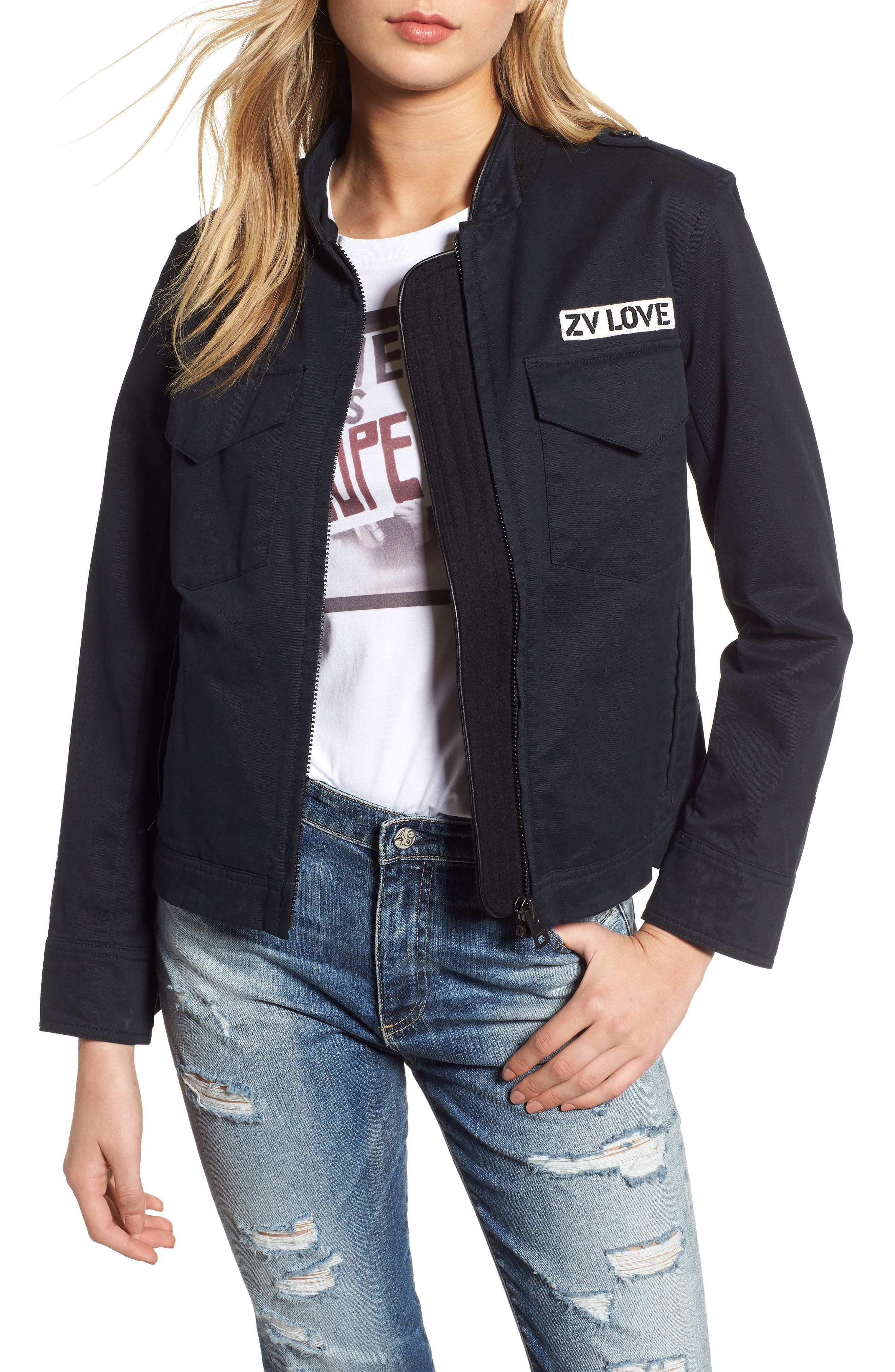 ZADIG & VOLTAIRE,                             Kavy Spi Embroidered Jacket,                             Main thumbnail 1, color,                             001