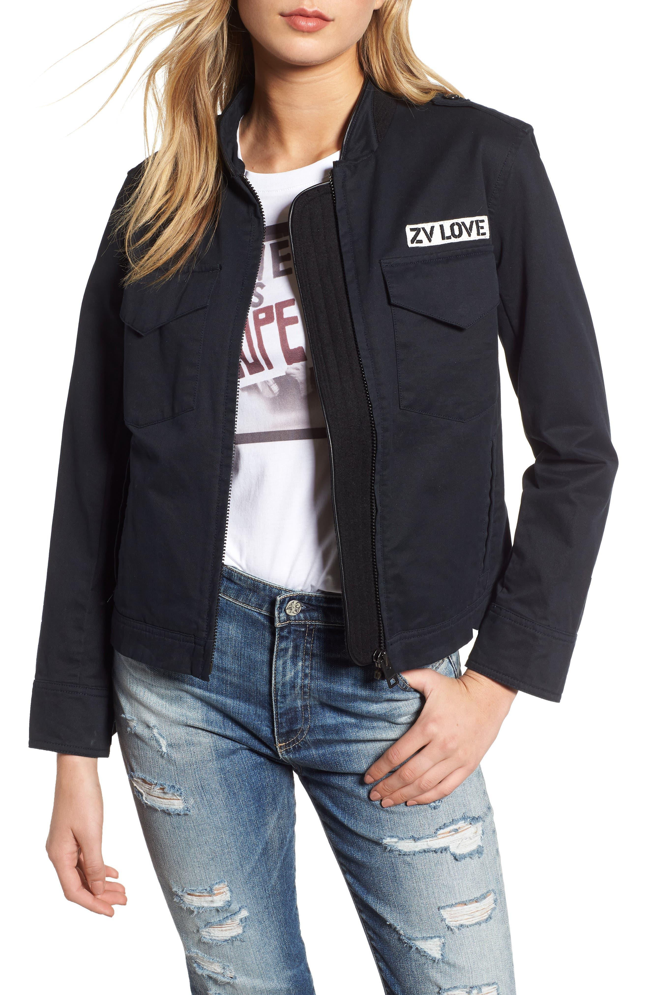 ZADIG & VOLTAIRE Kavy Spi Embroidered Jacket, Main, color, 001