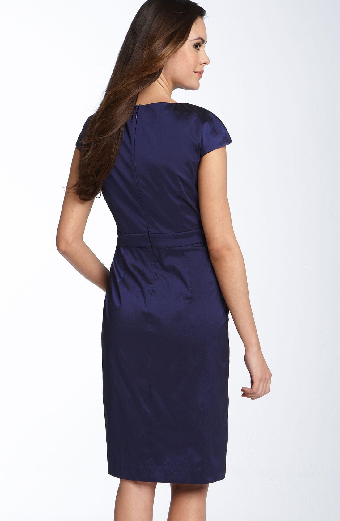 ELIZA J,                             Rhinestone Brooch Stretch Taffeta Sheath Dress,                             Alternate thumbnail 2, color,                             402
