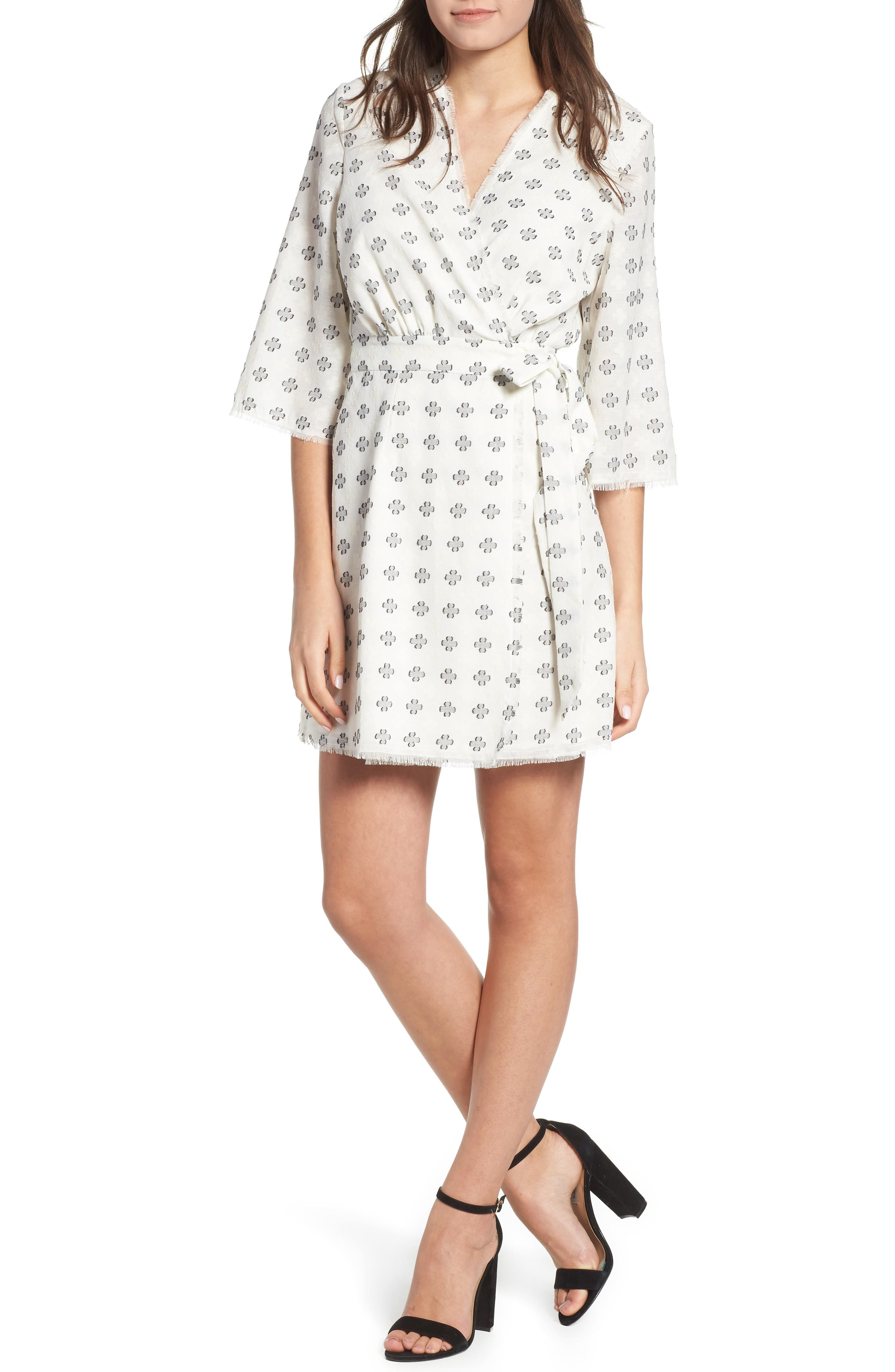 Ruth Wrap Minidress,                         Main,                         color, BLACK AND WHITE CLOVER