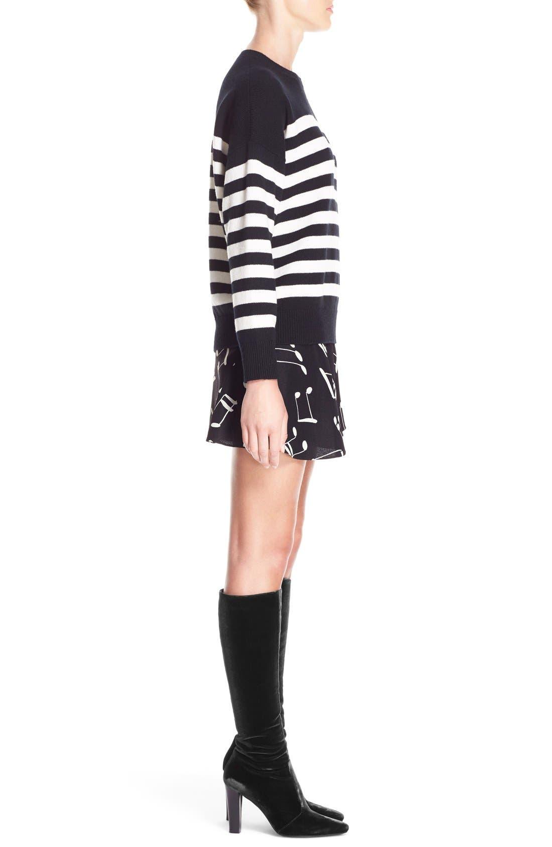 Stripe Cashmere Sweater,                             Alternate thumbnail 4, color,                             BLACK CREME