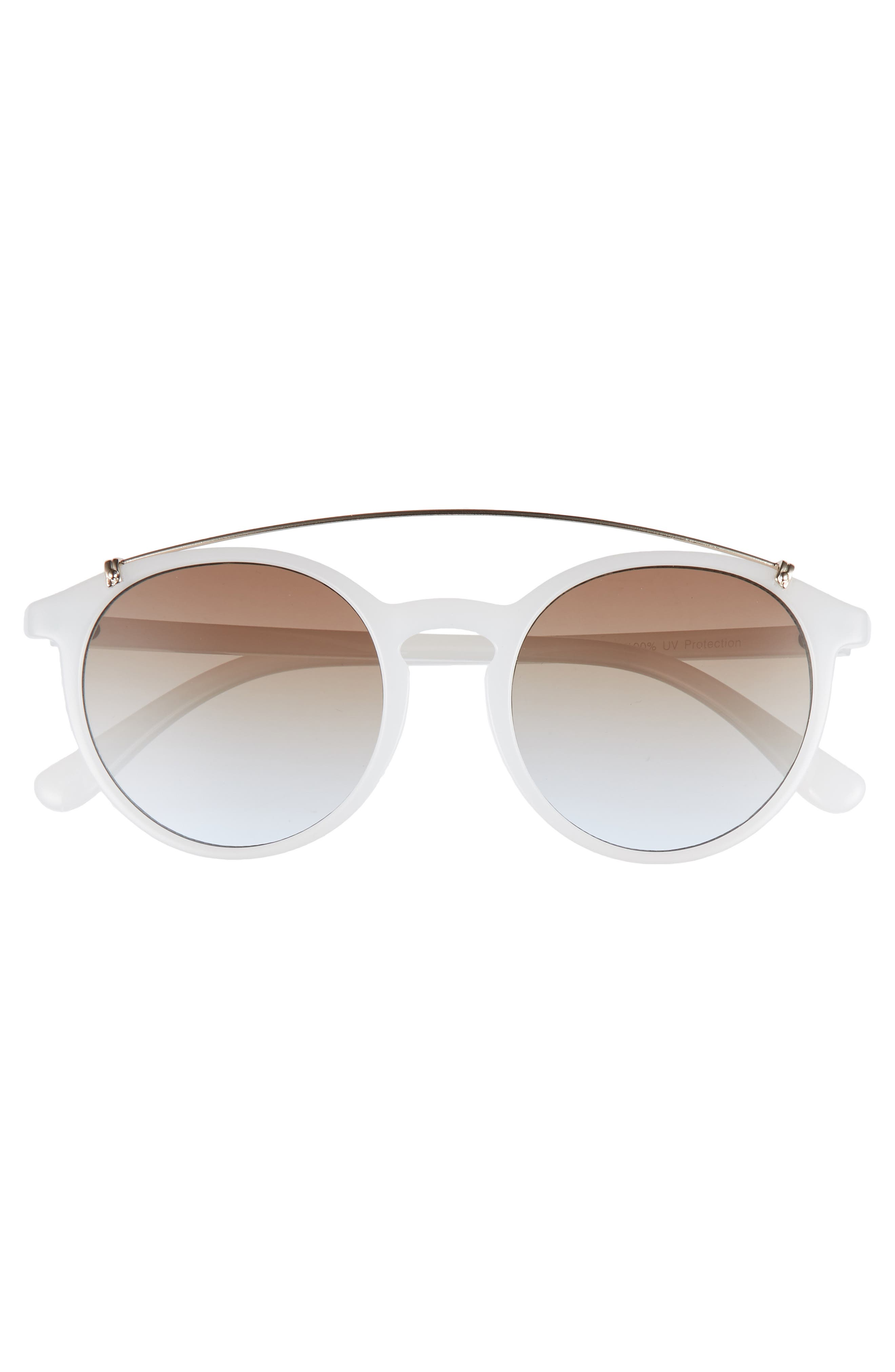 Round Aviator Sunglasses,                             Alternate thumbnail 3, color,                             100