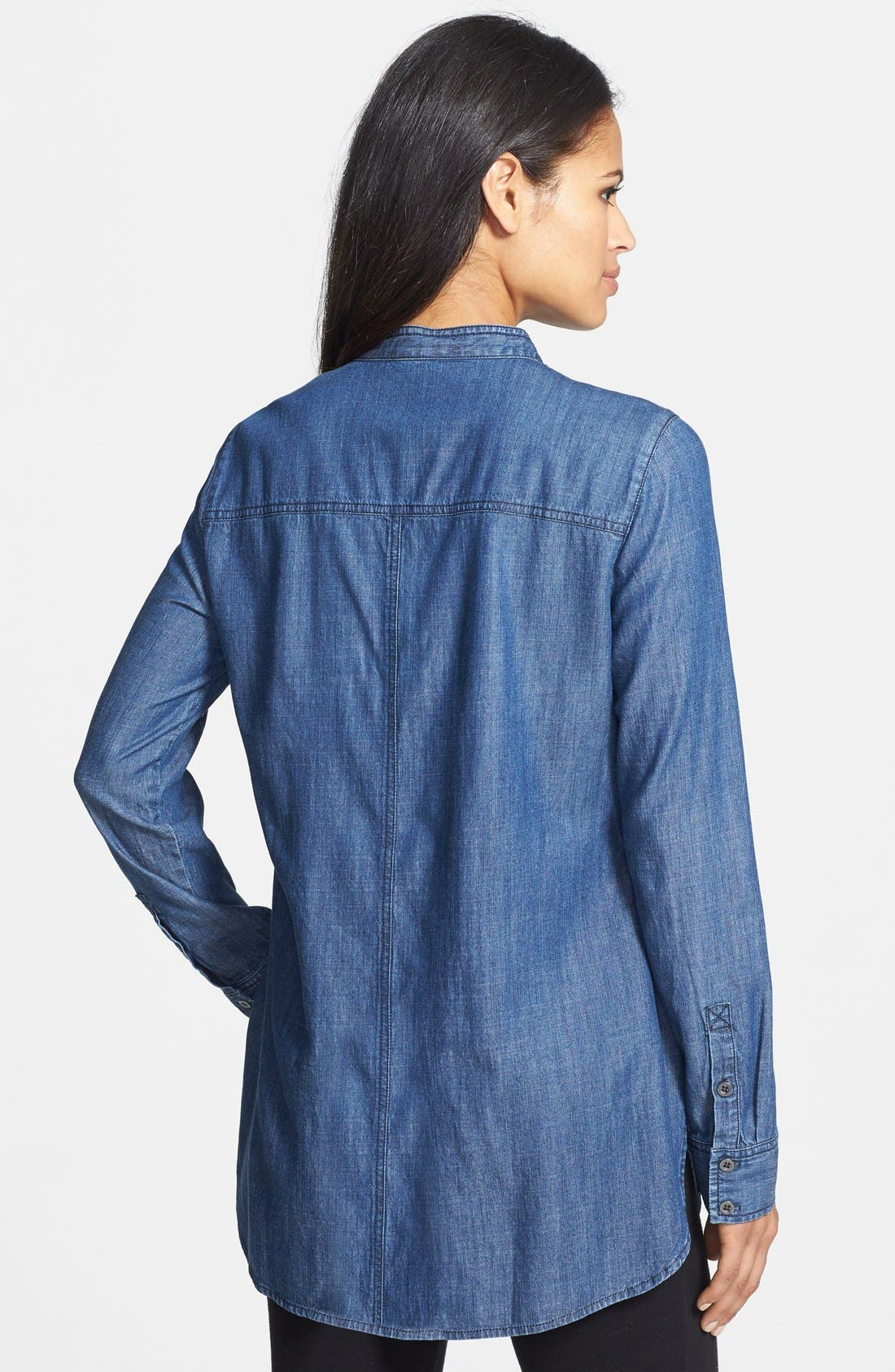 EILEEN FISHER,                             Mandarin Collar Chambray Henley Shirt,                             Alternate thumbnail 4, color,                             480