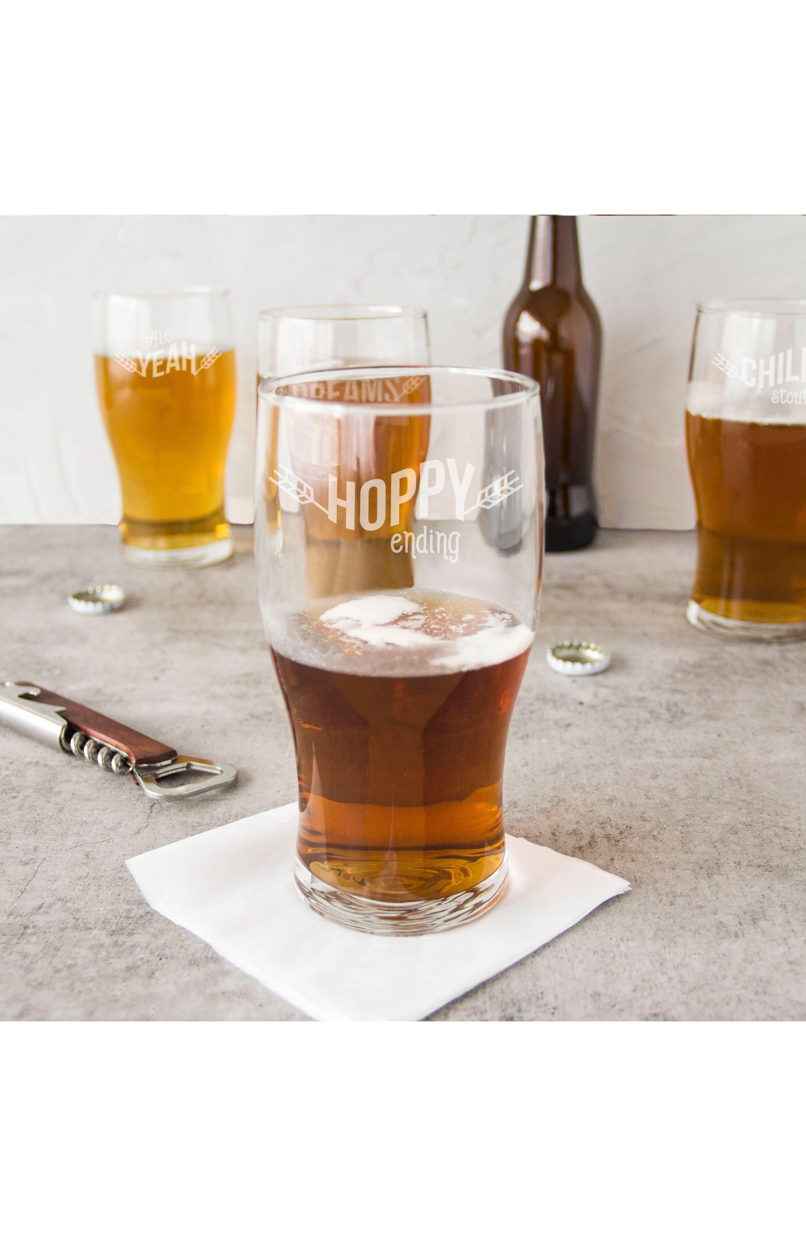 Beer Pun Set of 4 Pilsner Glasses,                             Alternate thumbnail 7, color,                             100