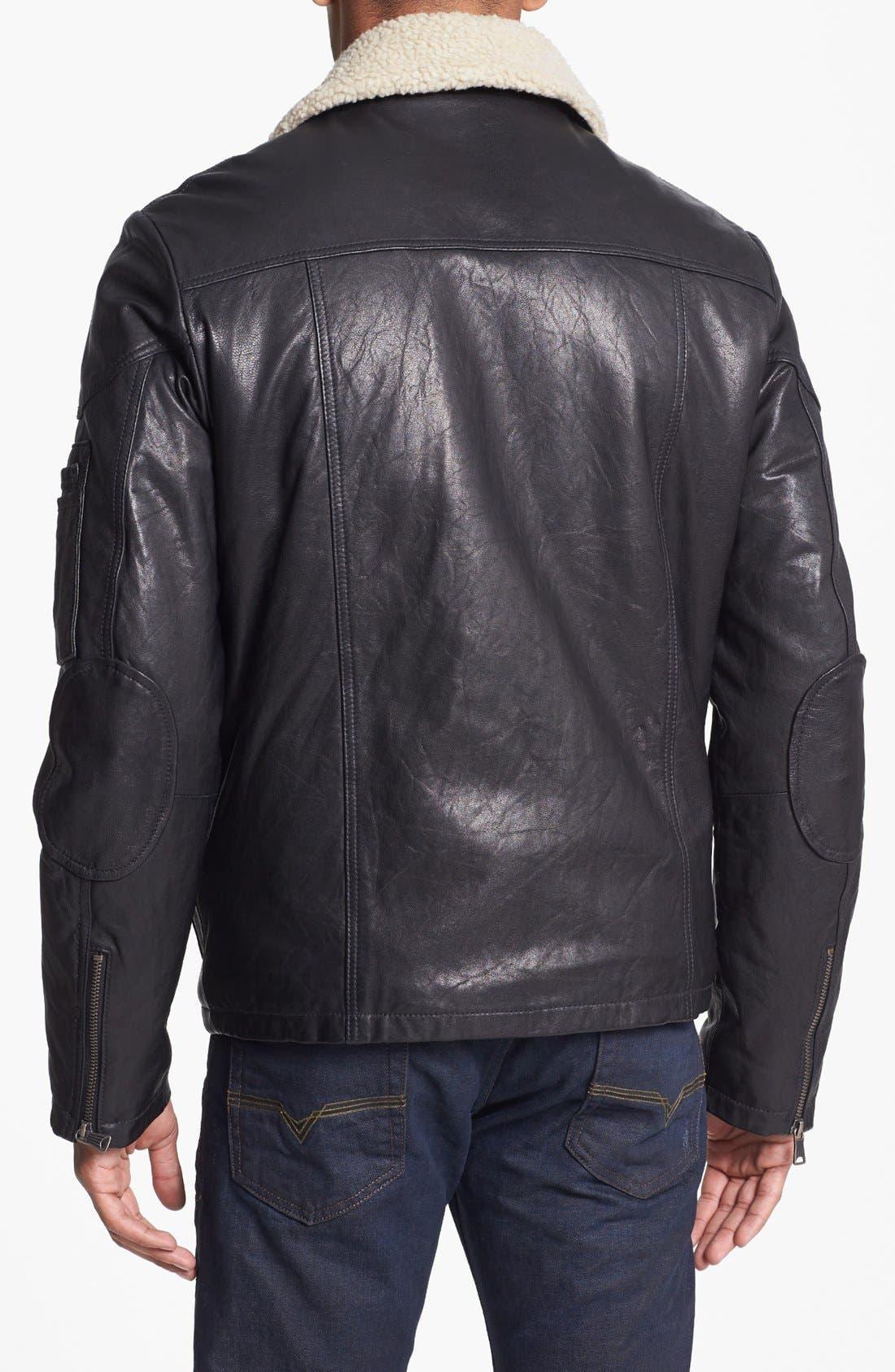 LEVI'S<SUP>®</SUP>,                             Leather Bomber Jacket,                             Alternate thumbnail 3, color,                             001