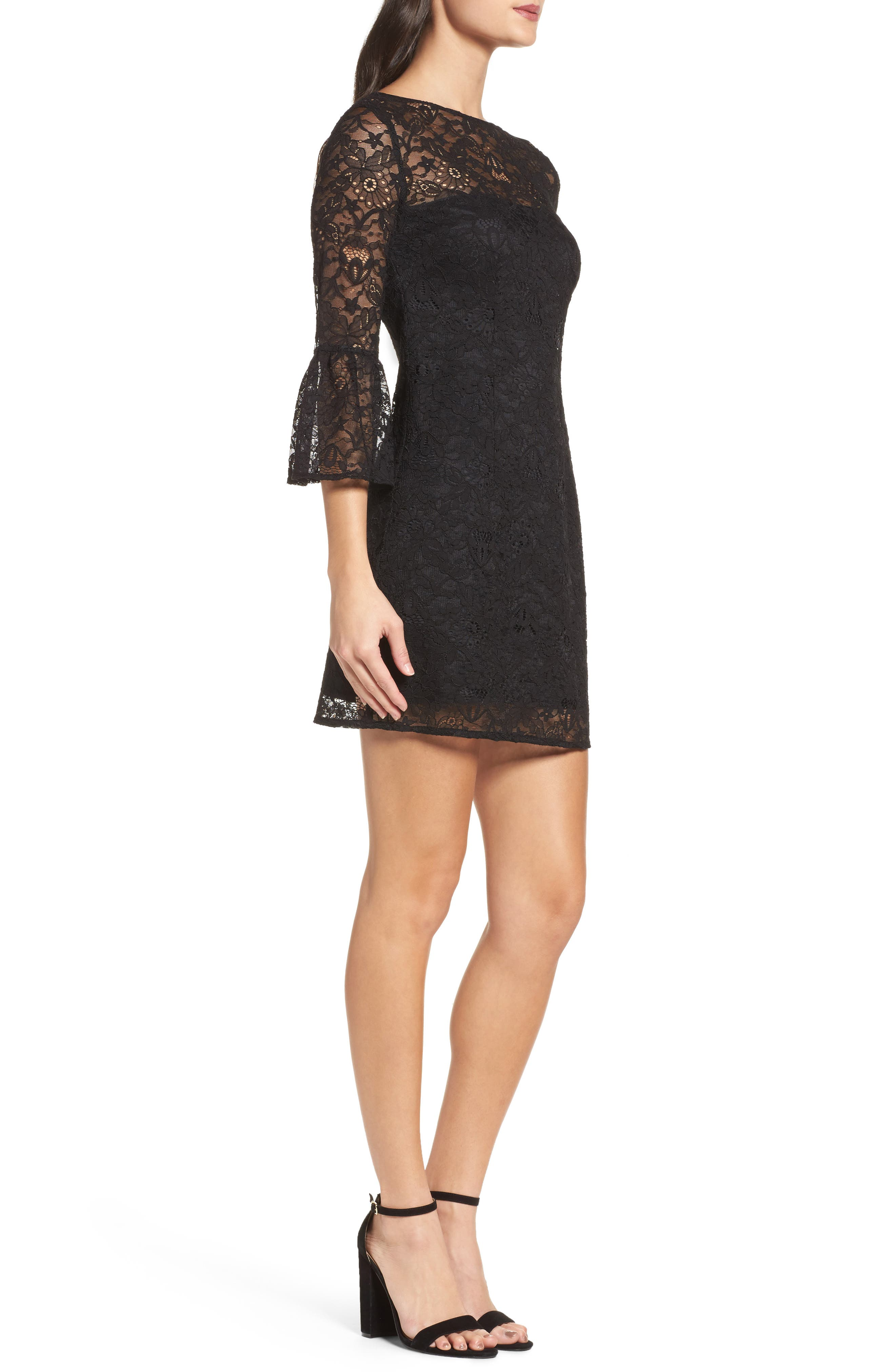 Billie Bell Sleeve Lace Dress,                             Alternate thumbnail 3, color,                             001