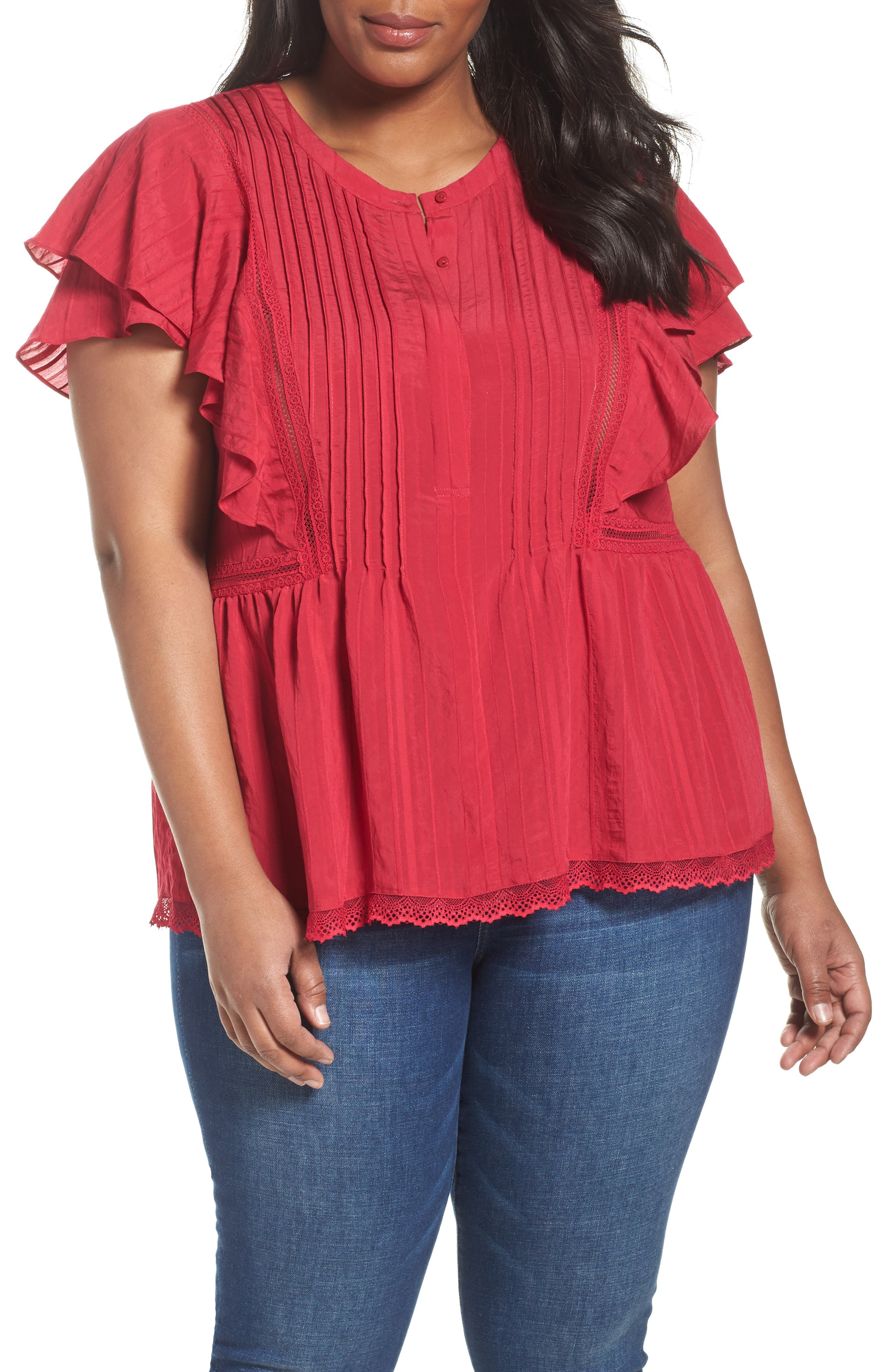 Lace Trim Pintuck Pleated Top,                             Main thumbnail 2, color,
