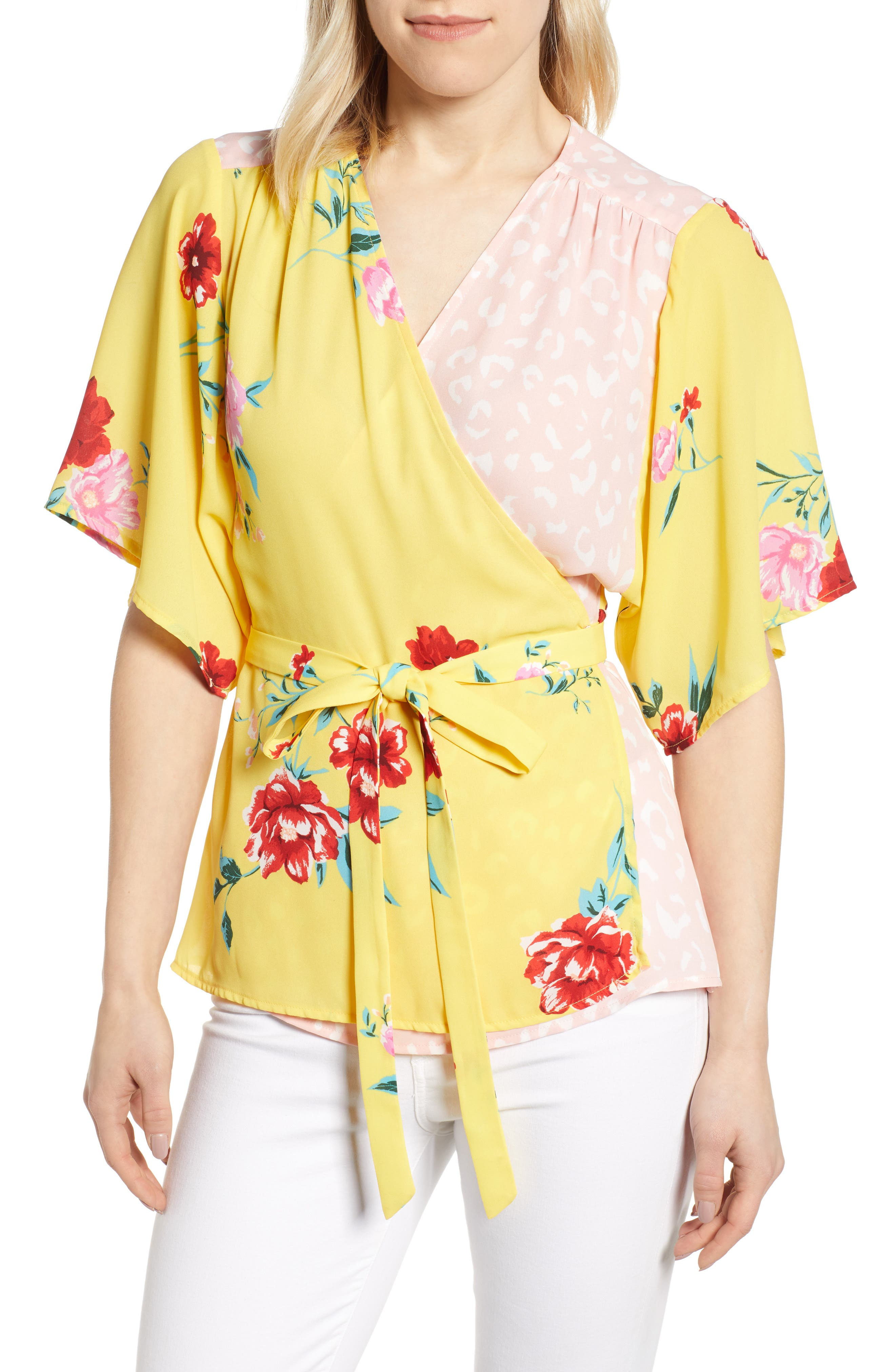 GIBSON x International Women's Day Mindy Kimono Sleeve Wrap Blouse, Main, color, VIRGINIA BLOOM