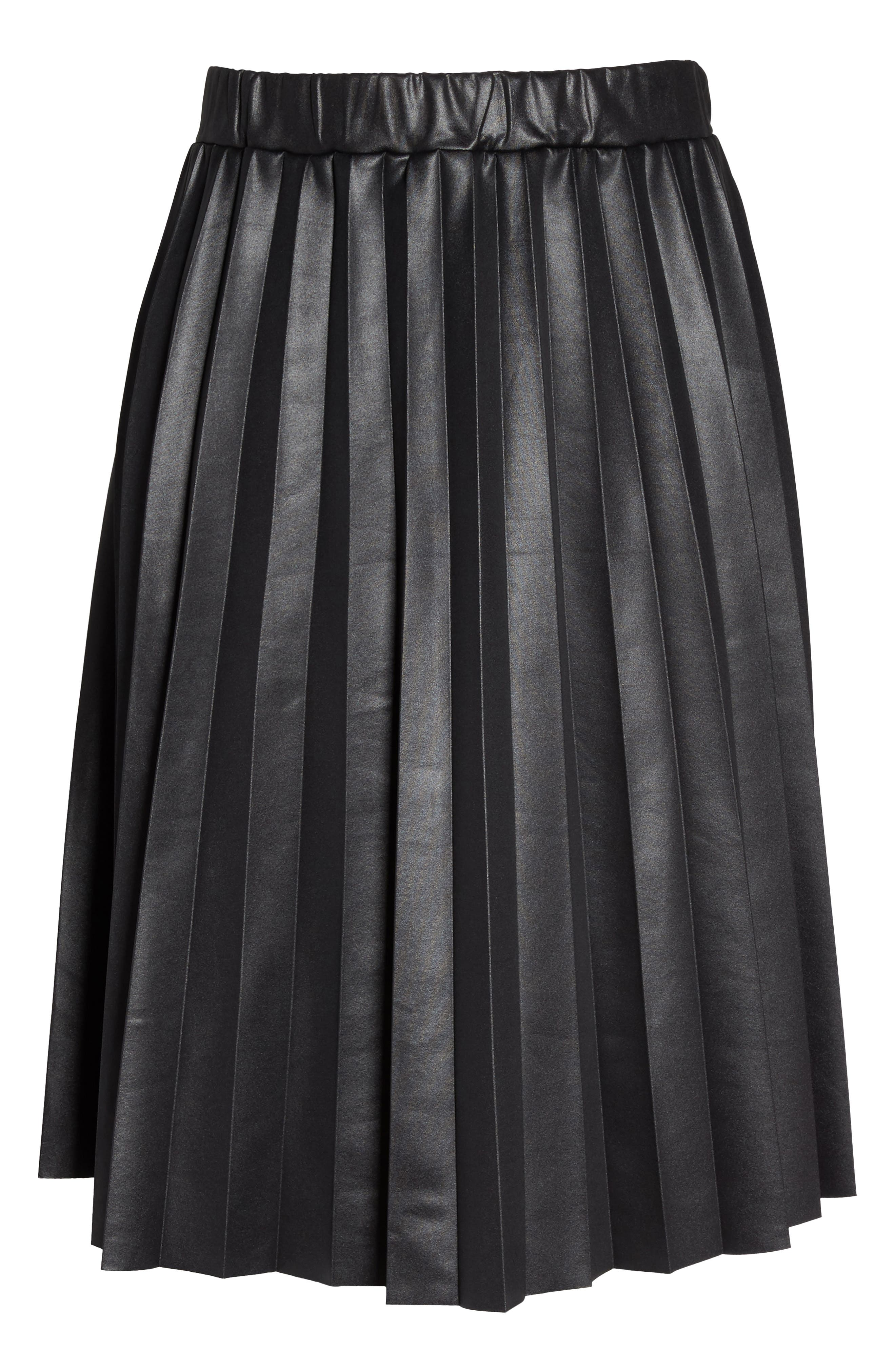 Coated Jersey Pleated Skirt,                             Alternate thumbnail 6, color,                             001