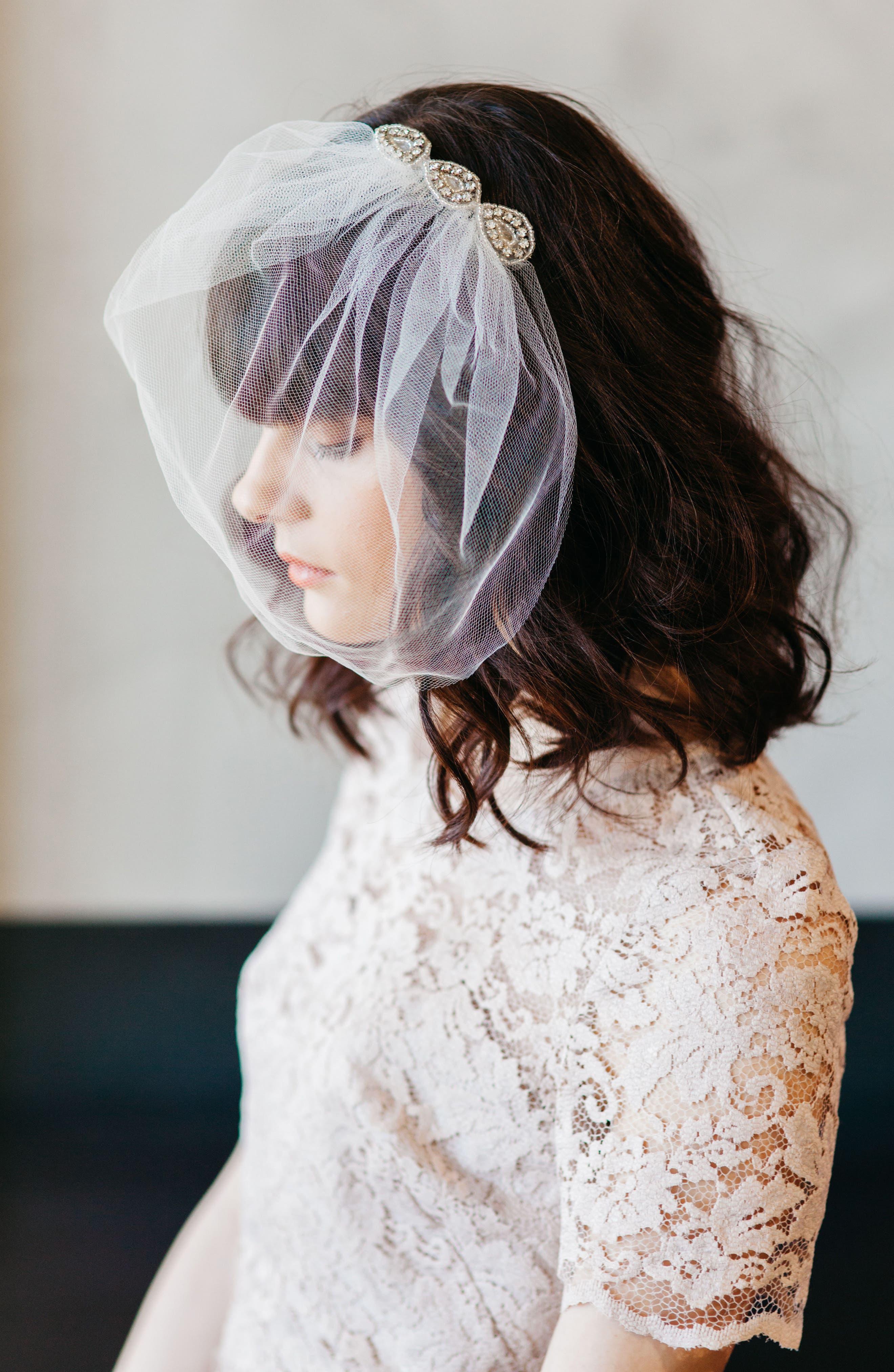 Bridal Veil Hair Comb,                             Alternate thumbnail 2, color,                             900