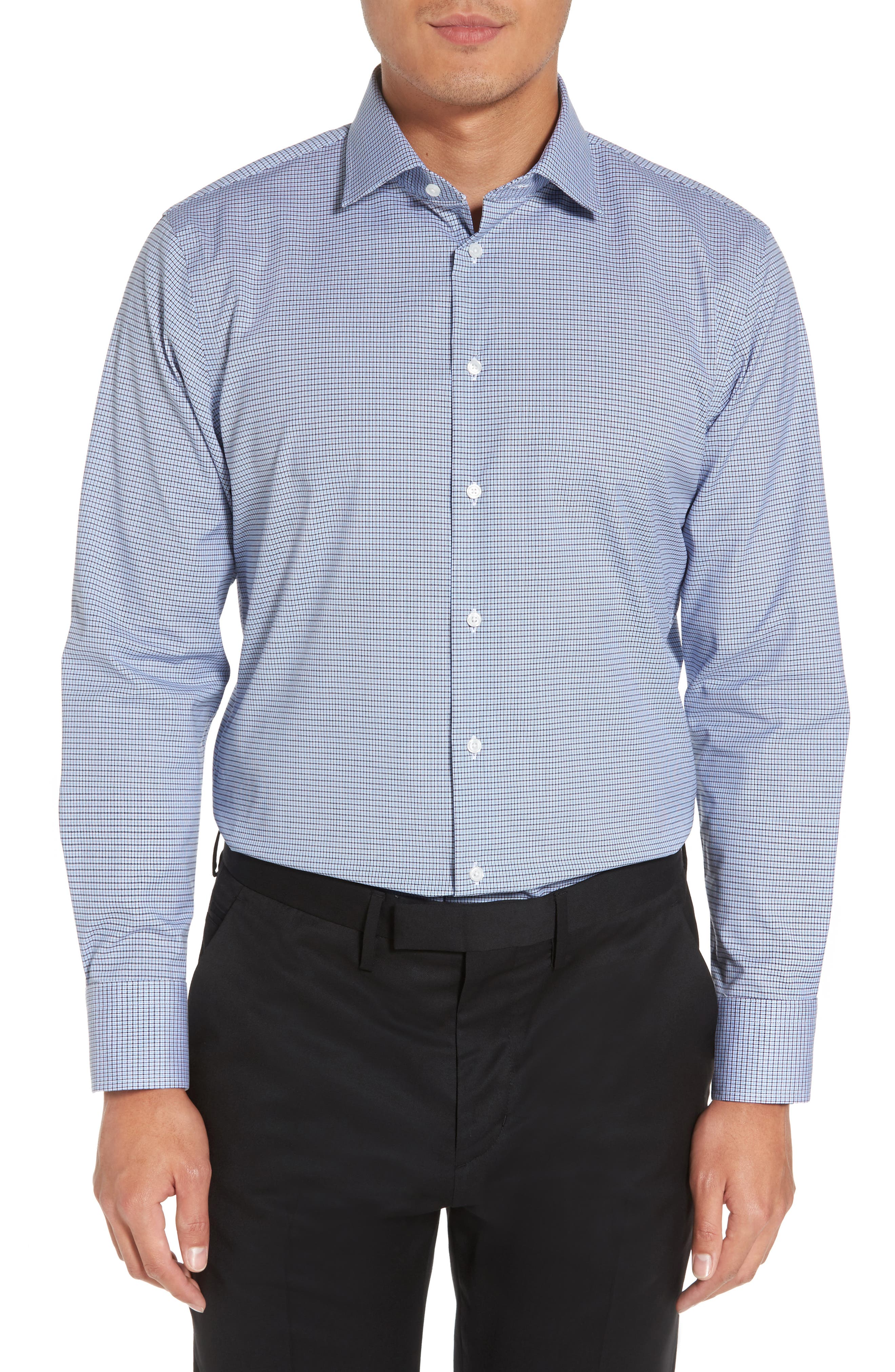 Trim Fit Non-Iron Check Stretch Dress Shirt,                         Main,                         color, 420