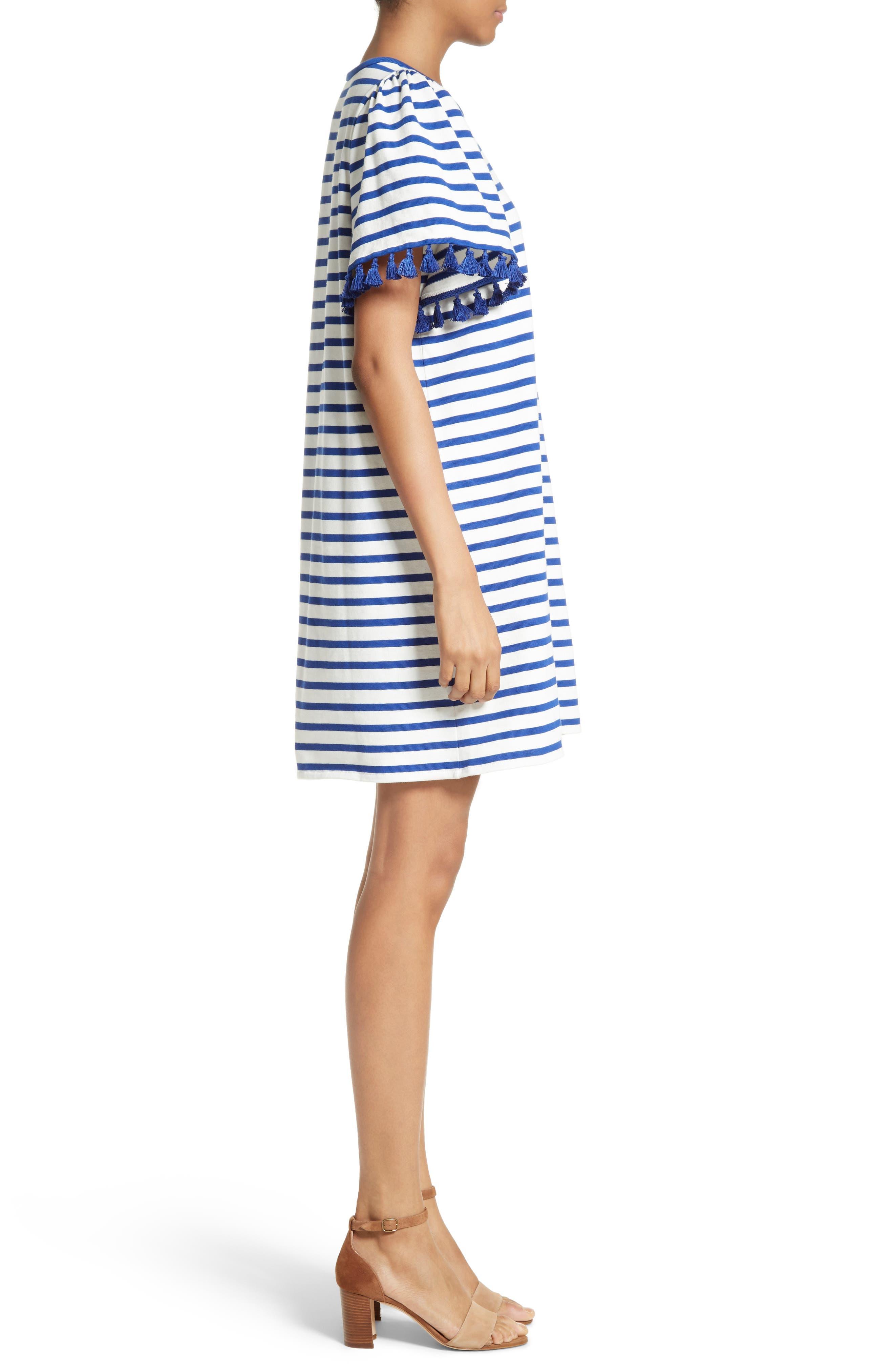 stripe flutter sleeve dress,                             Alternate thumbnail 3, color,                             137