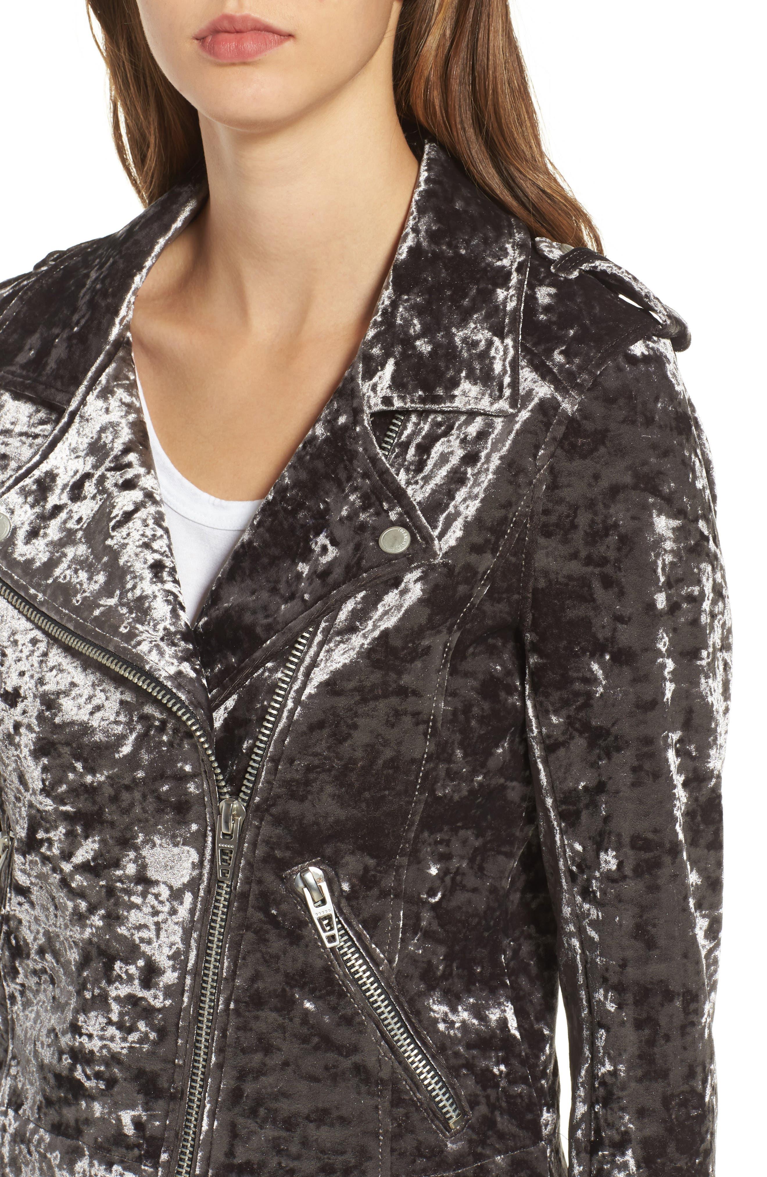 Bonded Velvet Moto Jacket,                             Alternate thumbnail 4, color,                             020
