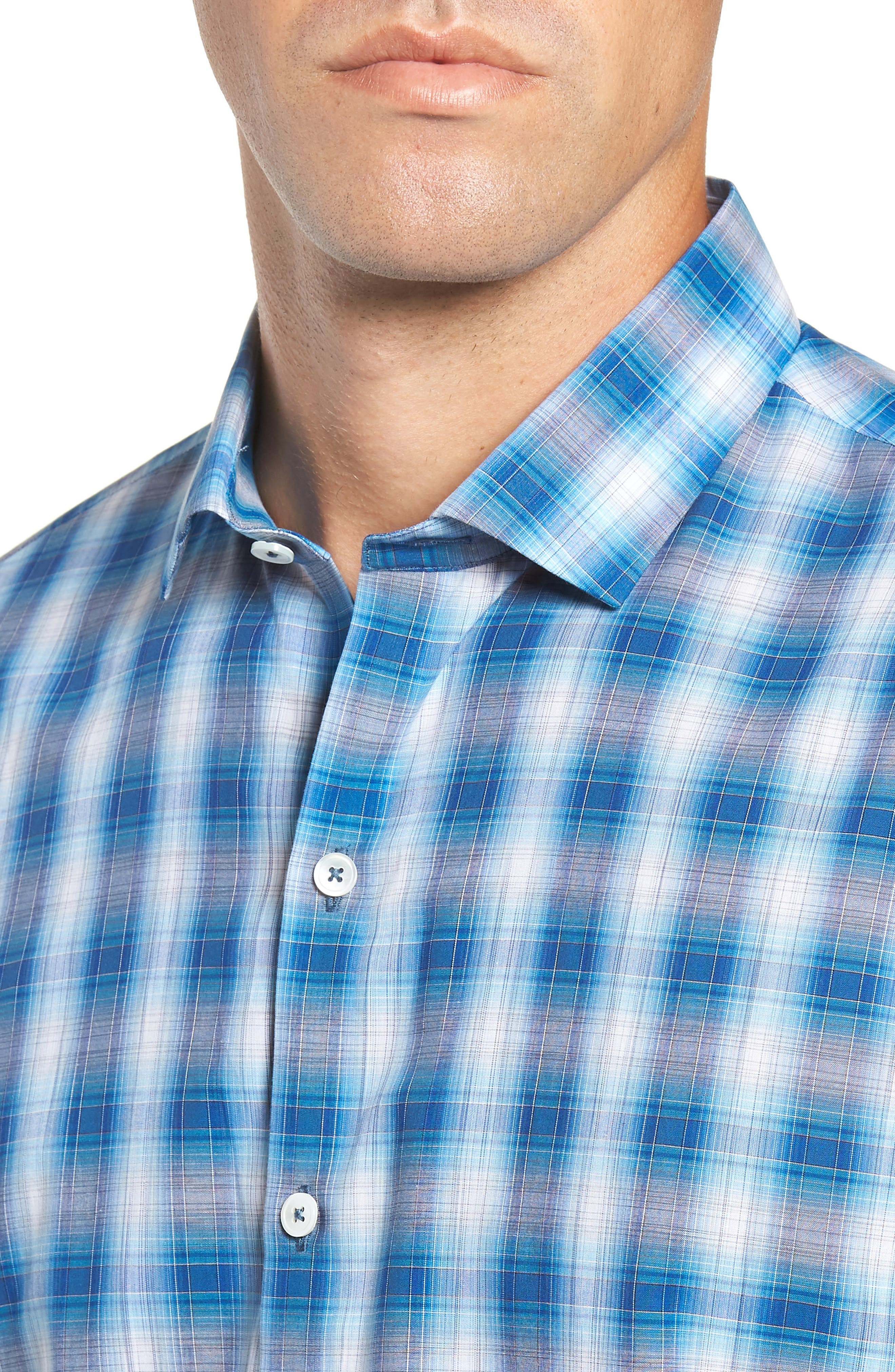 Holtsinger Plaid Sport Shirt,                             Alternate thumbnail 2, color,                             BRIGHT BLUE
