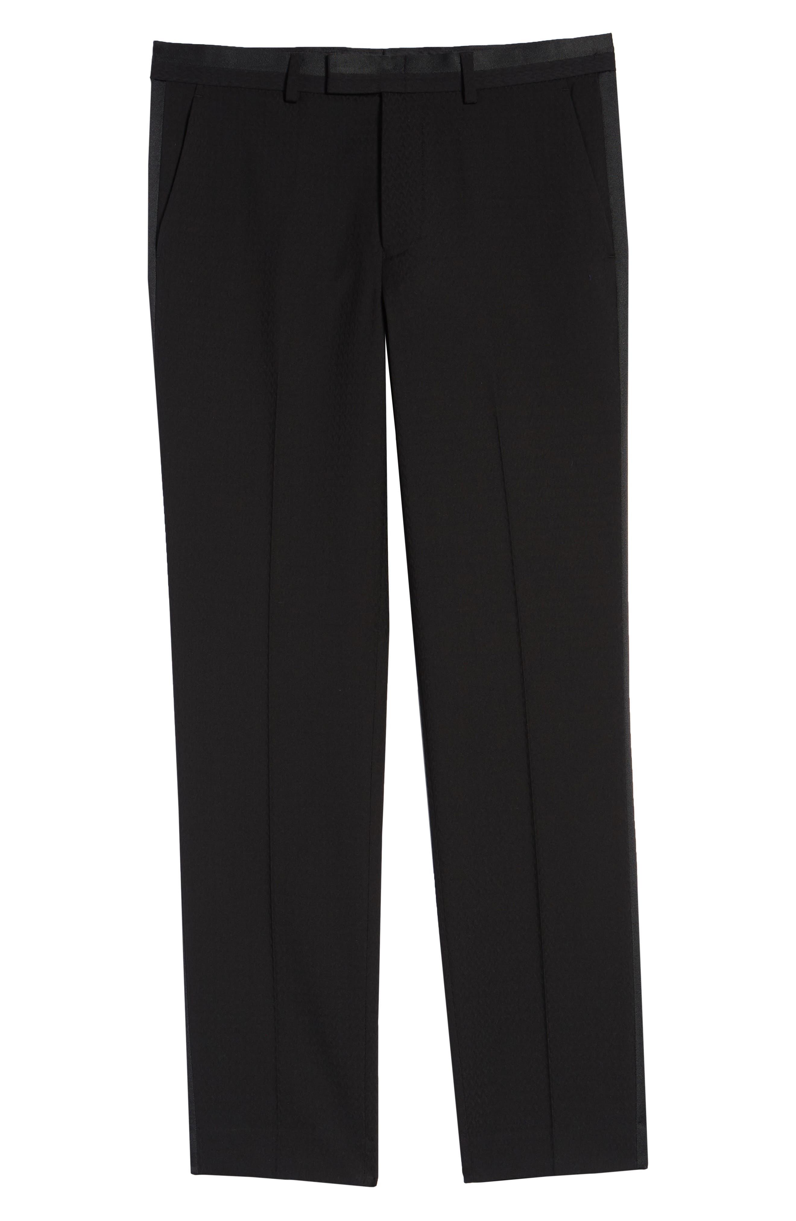 Kingley Slim Fit Tuxedo Pants,                             Alternate thumbnail 6, color,                             BLACK