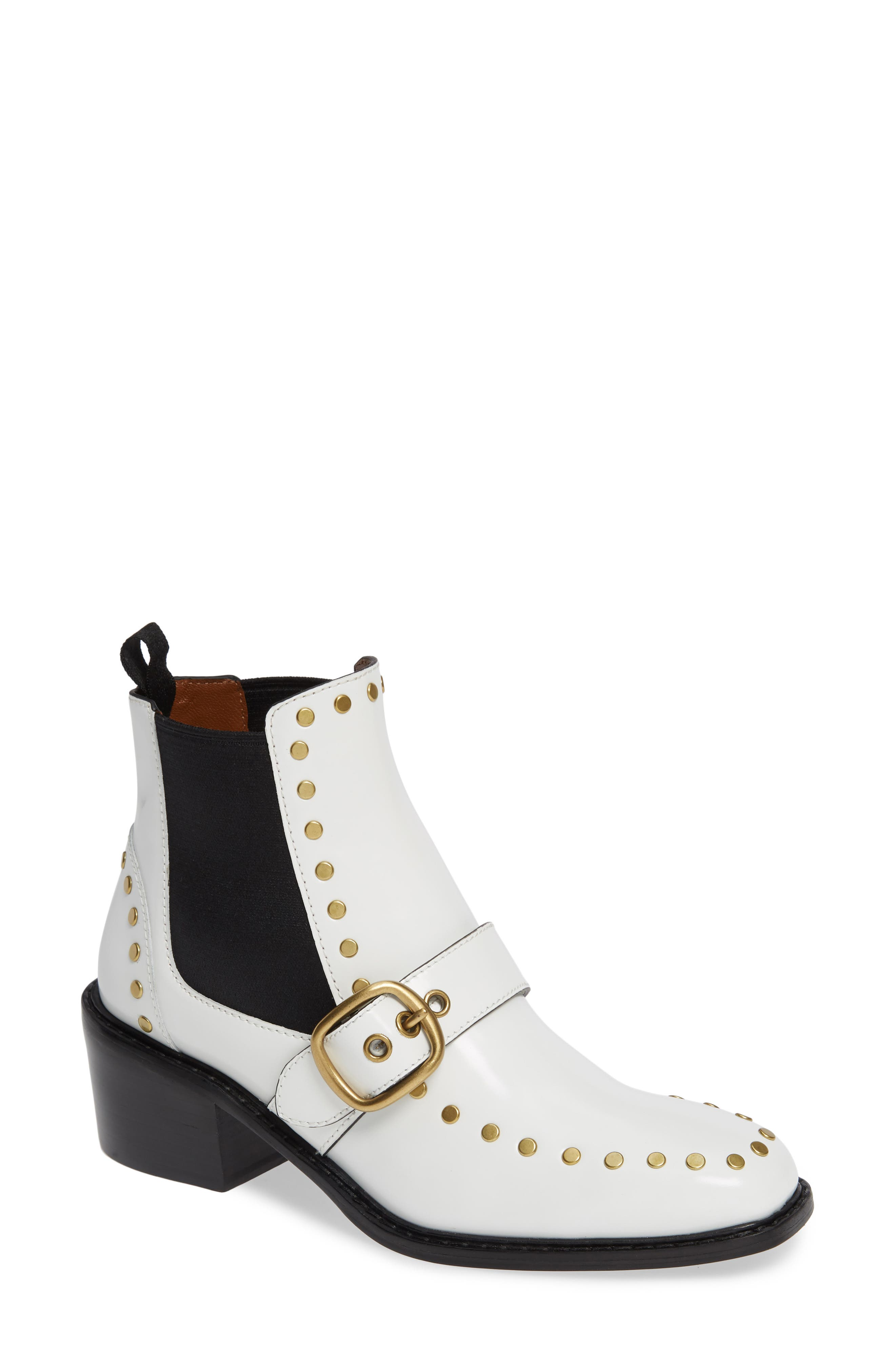 Nora Studded Chelsea Boot,                             Main thumbnail 1, color,                             WHITE LEATHER