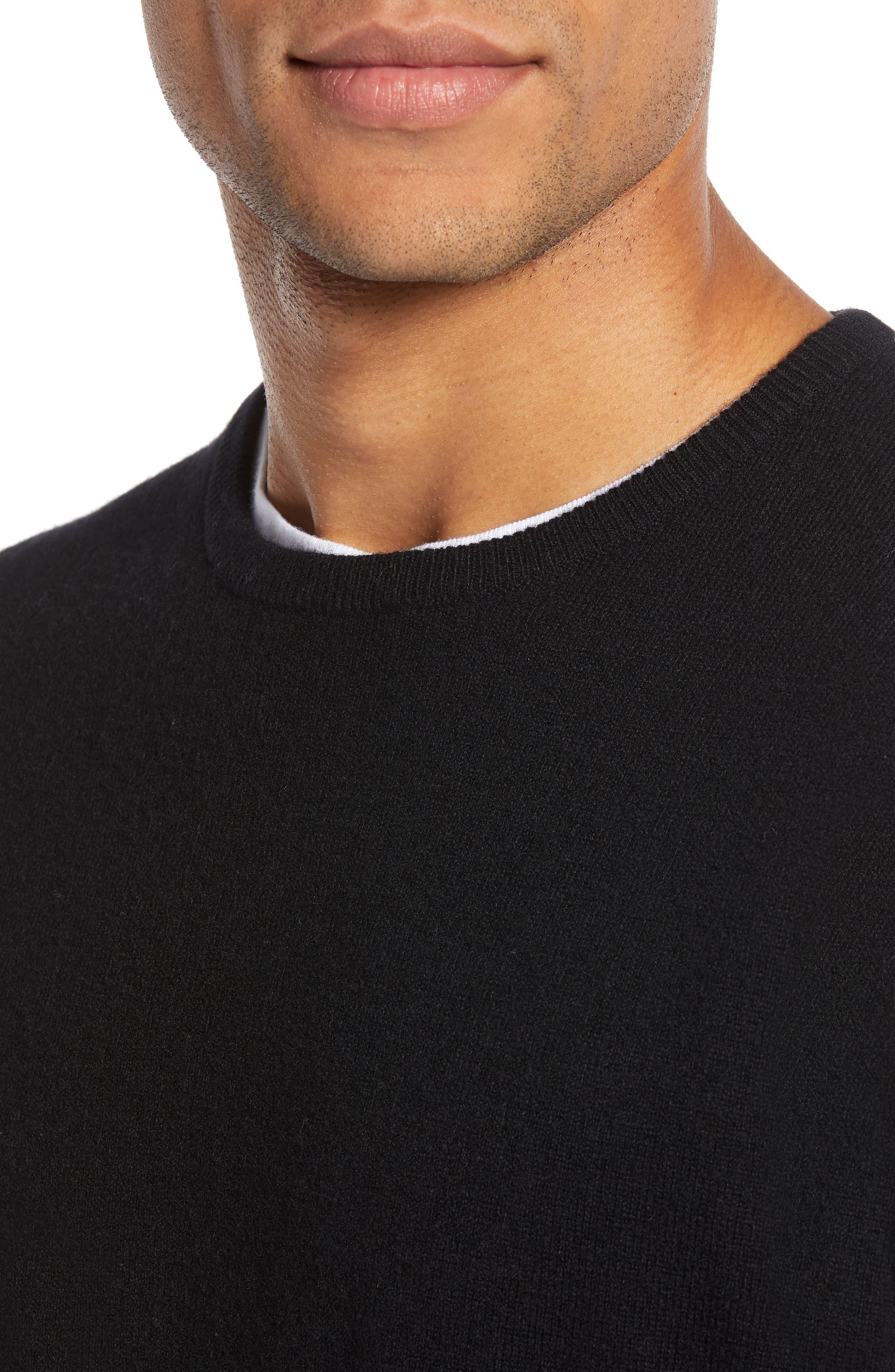 Regular Fit Wool & Cashmere Sweater,                             Alternate thumbnail 4, color,                             BLACK CAVIAR