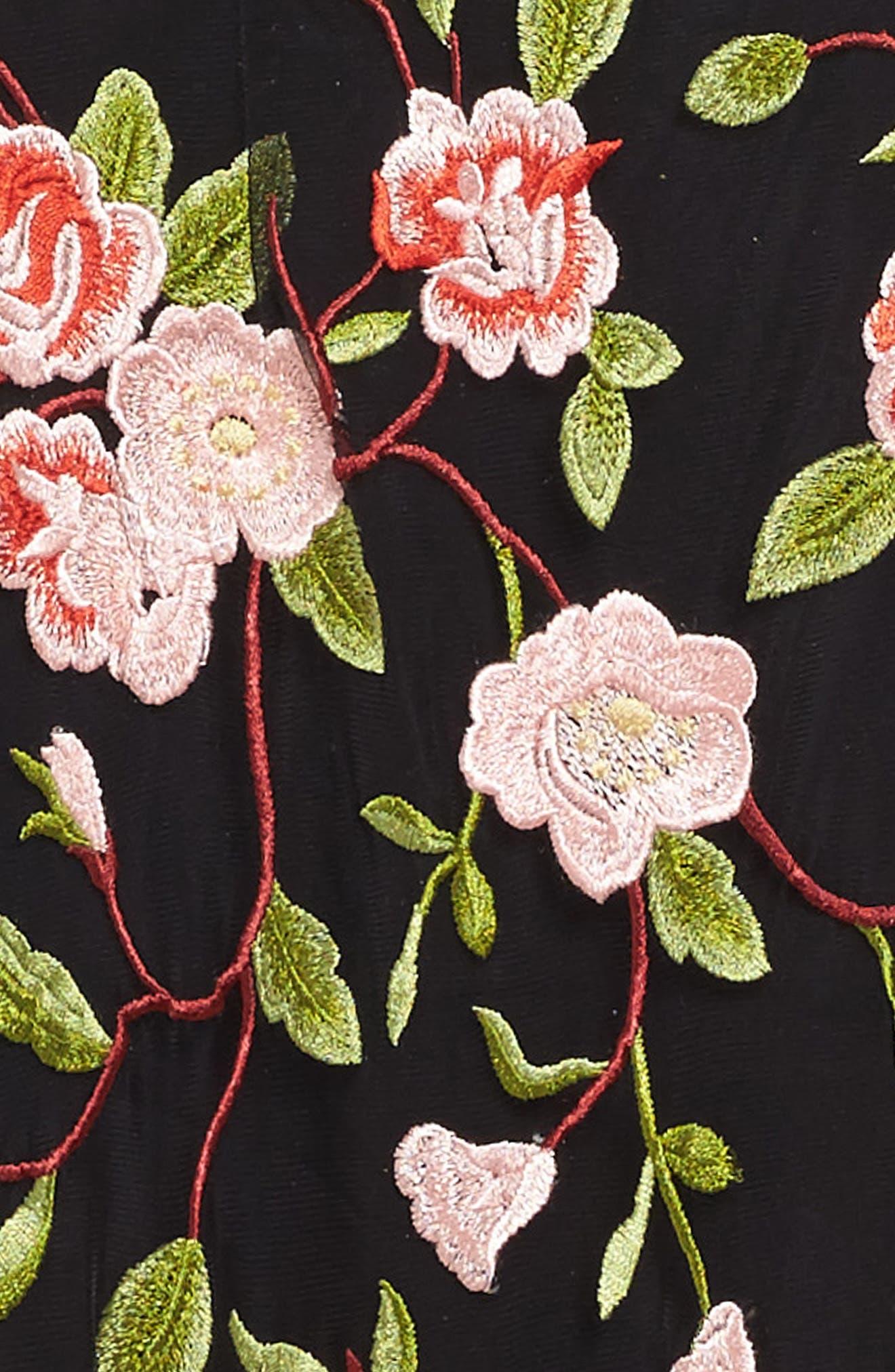 Floral Embroidered Slip Dress,                             Alternate thumbnail 3, color,                             001