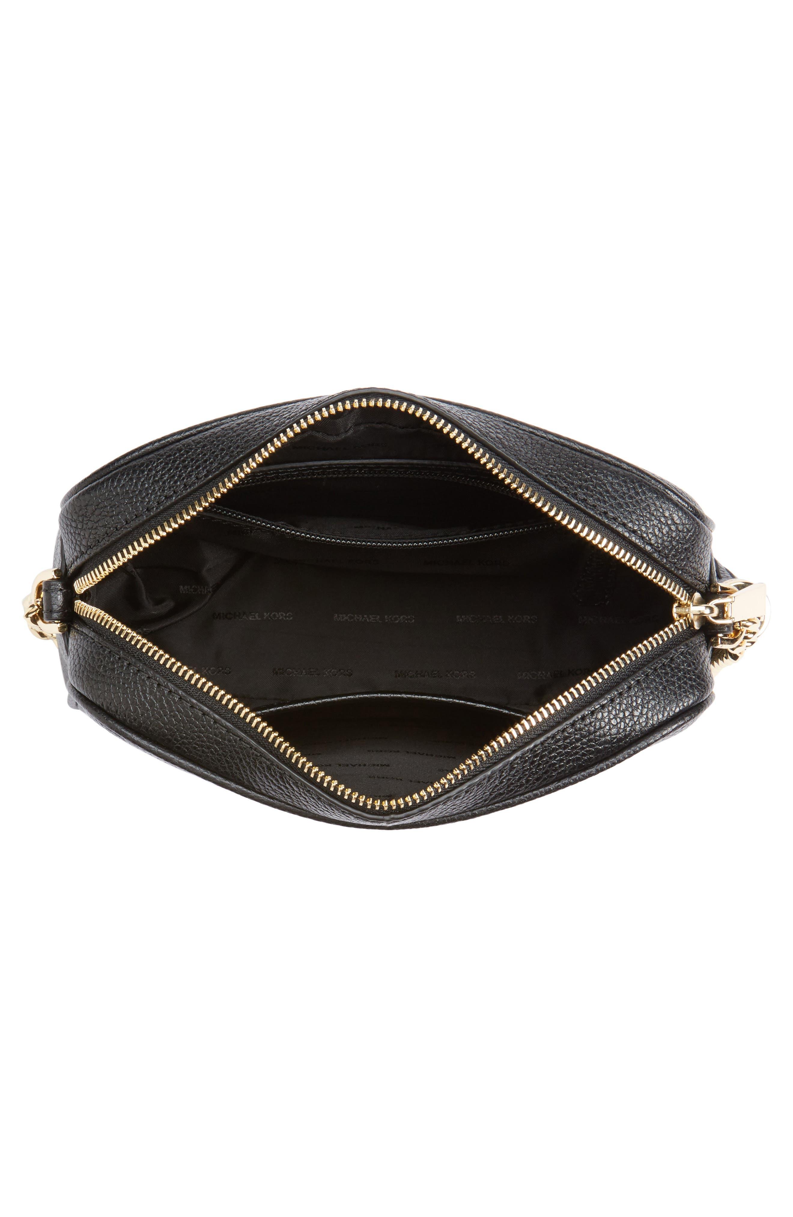 MICHAEL Michael Kors Medium Ginny Leather Camera Bag,                             Alternate thumbnail 4, color,                             001