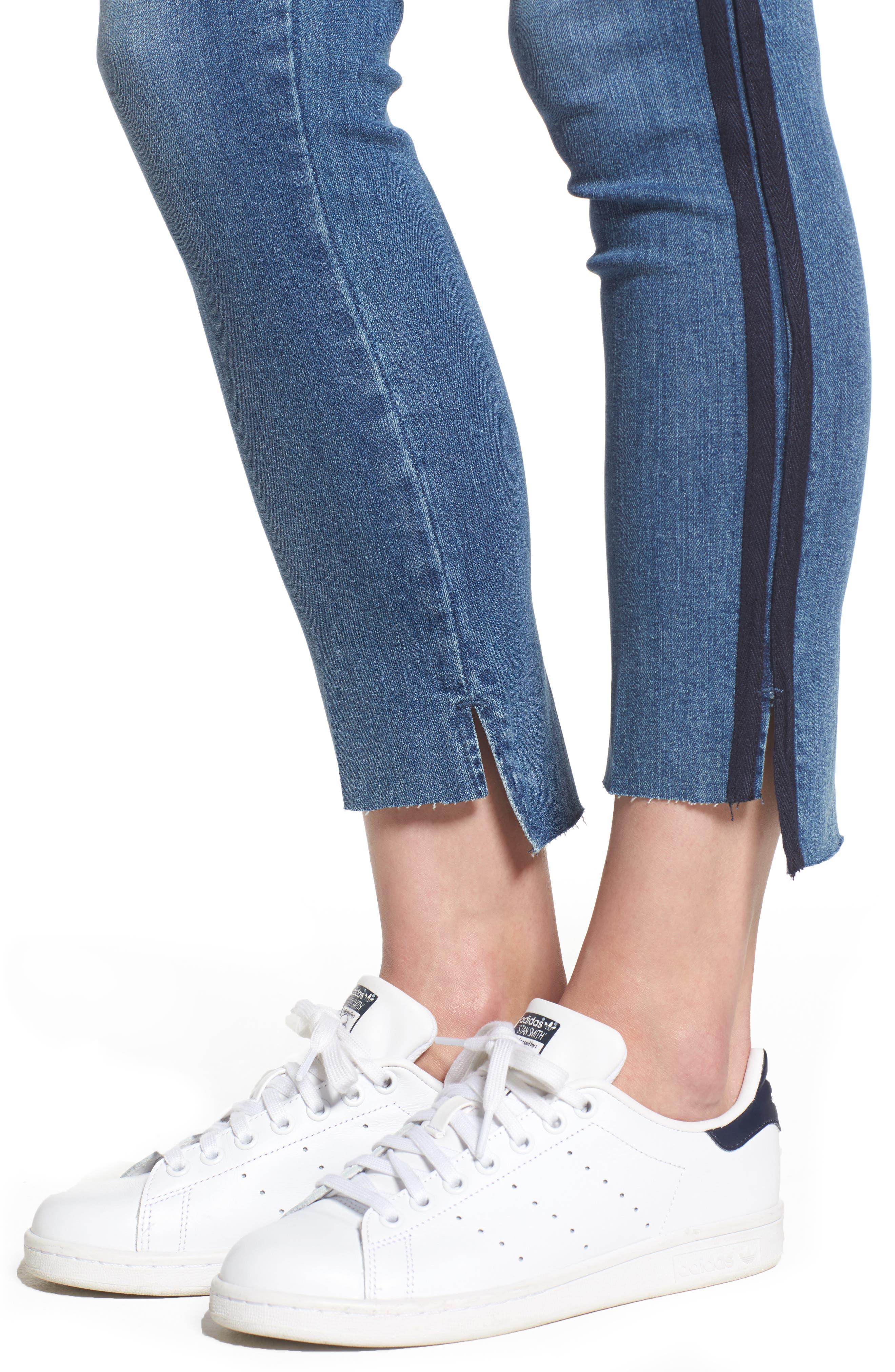 Side Stripe Ankle Jeans,                             Alternate thumbnail 4, color,