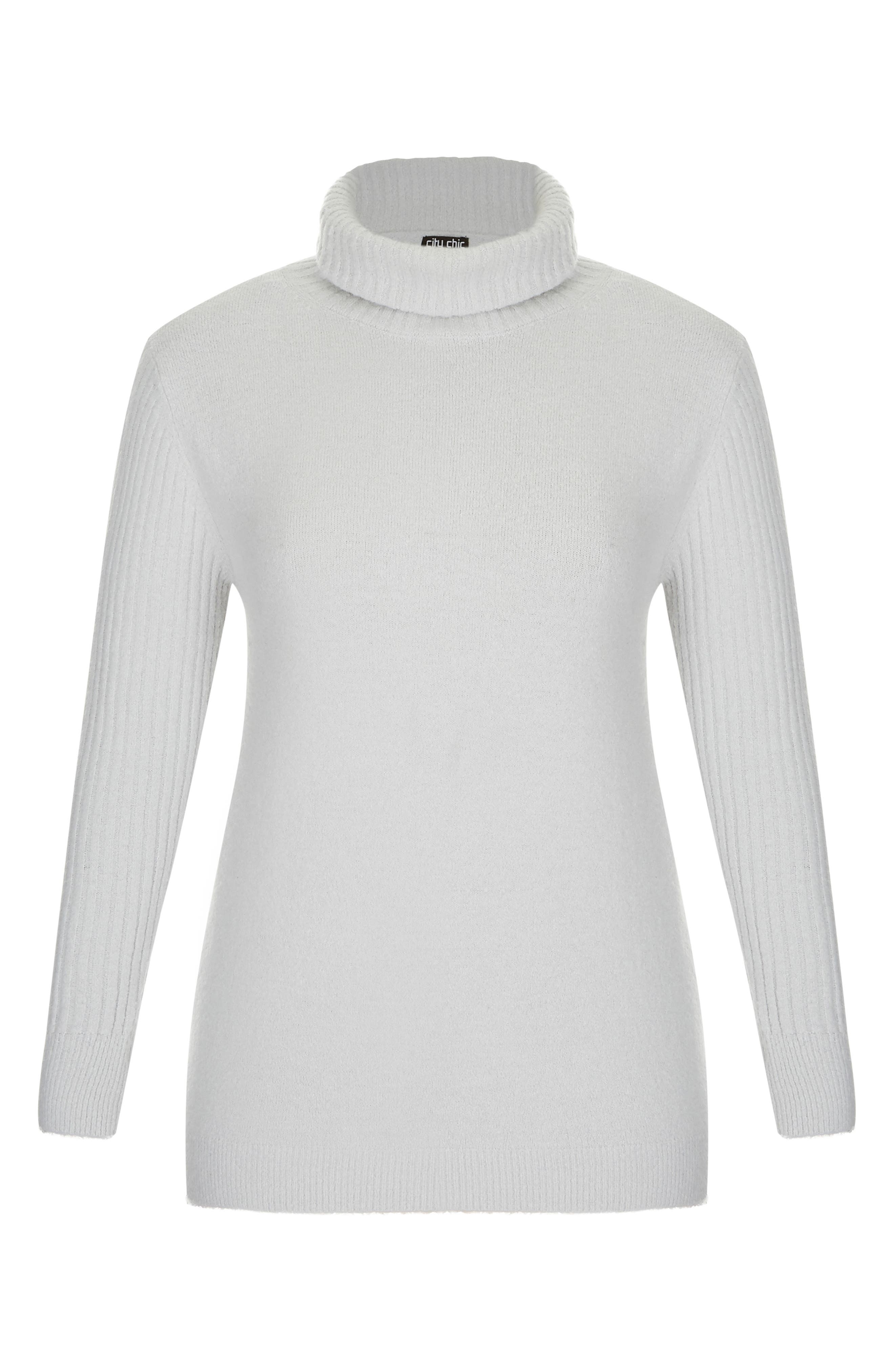 CITY CHIC,                             Turtleneck Sweater,                             Alternate thumbnail 3, color,                             SILVER MARLE
