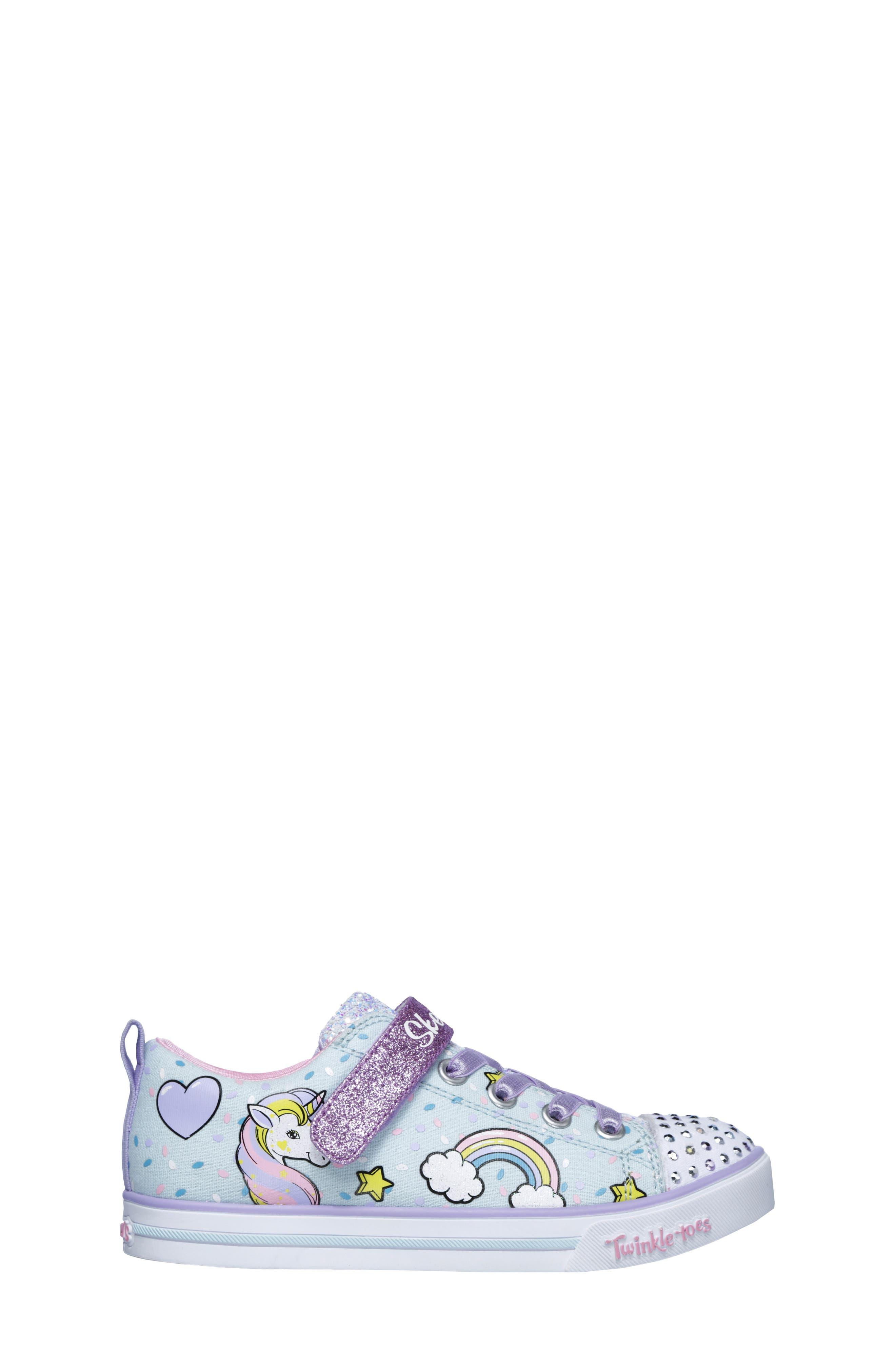 Twinkle Toes Unicorn Light-Up Sneaker,                             Alternate thumbnail 3, color,                             LIGHT BLUE/ MULTI