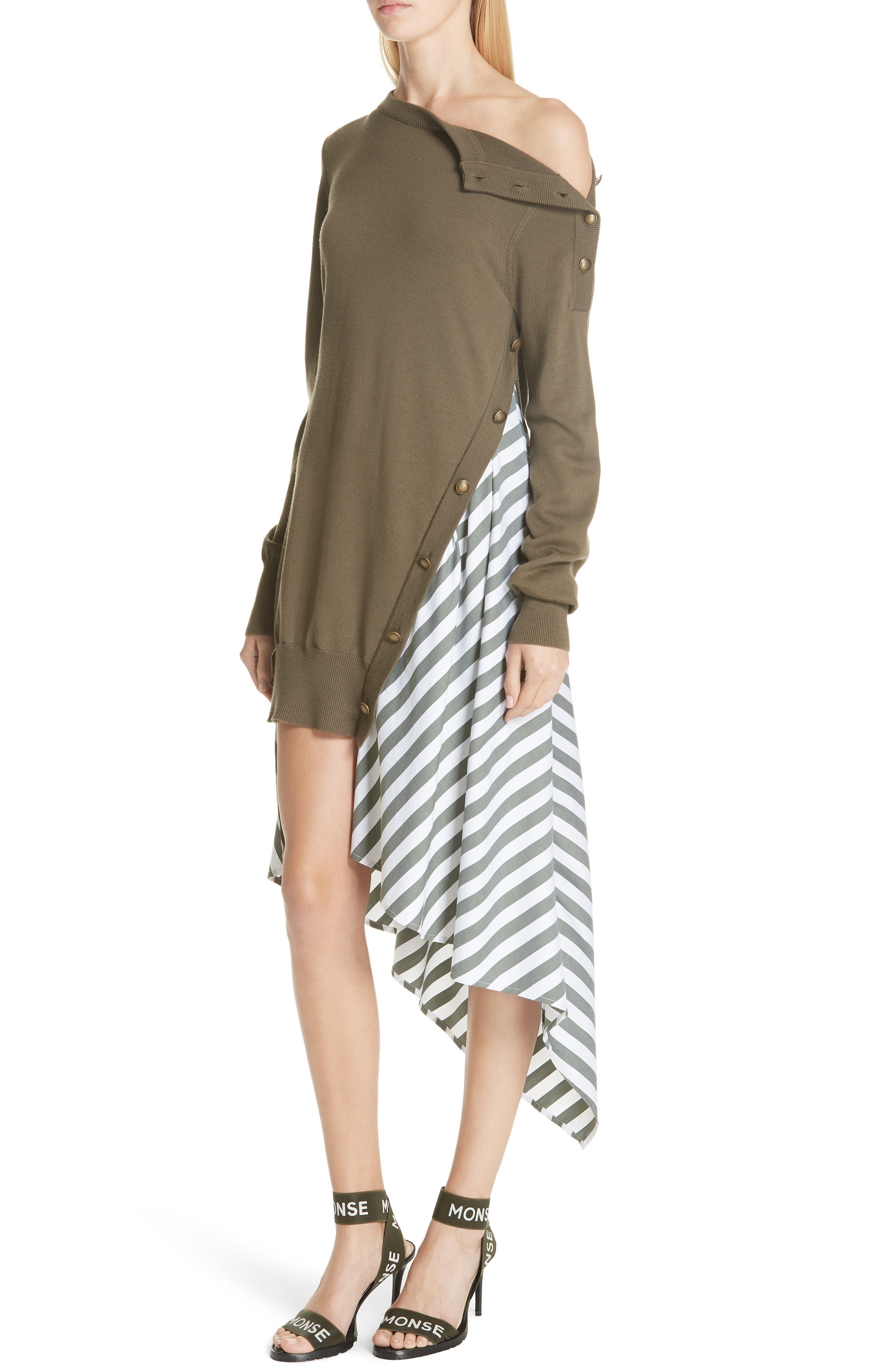 MONSE,                             Knit & Stripe Poplin Asymmetrical Dress,                             Alternate thumbnail 4, color,                             OLIVE/ WHITE