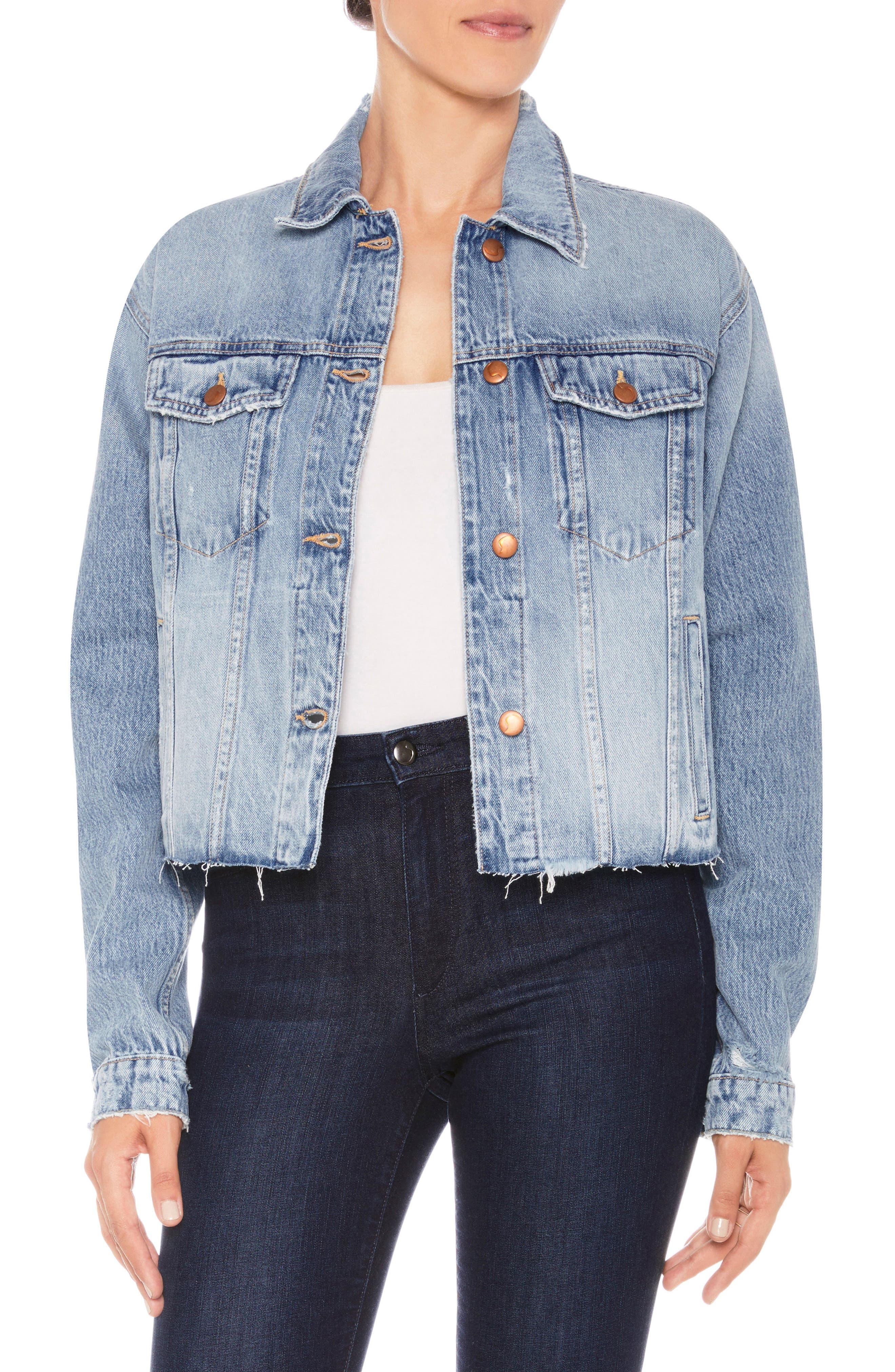 The Boyfriend Cutoff Denim Jacket,                         Main,                         color,